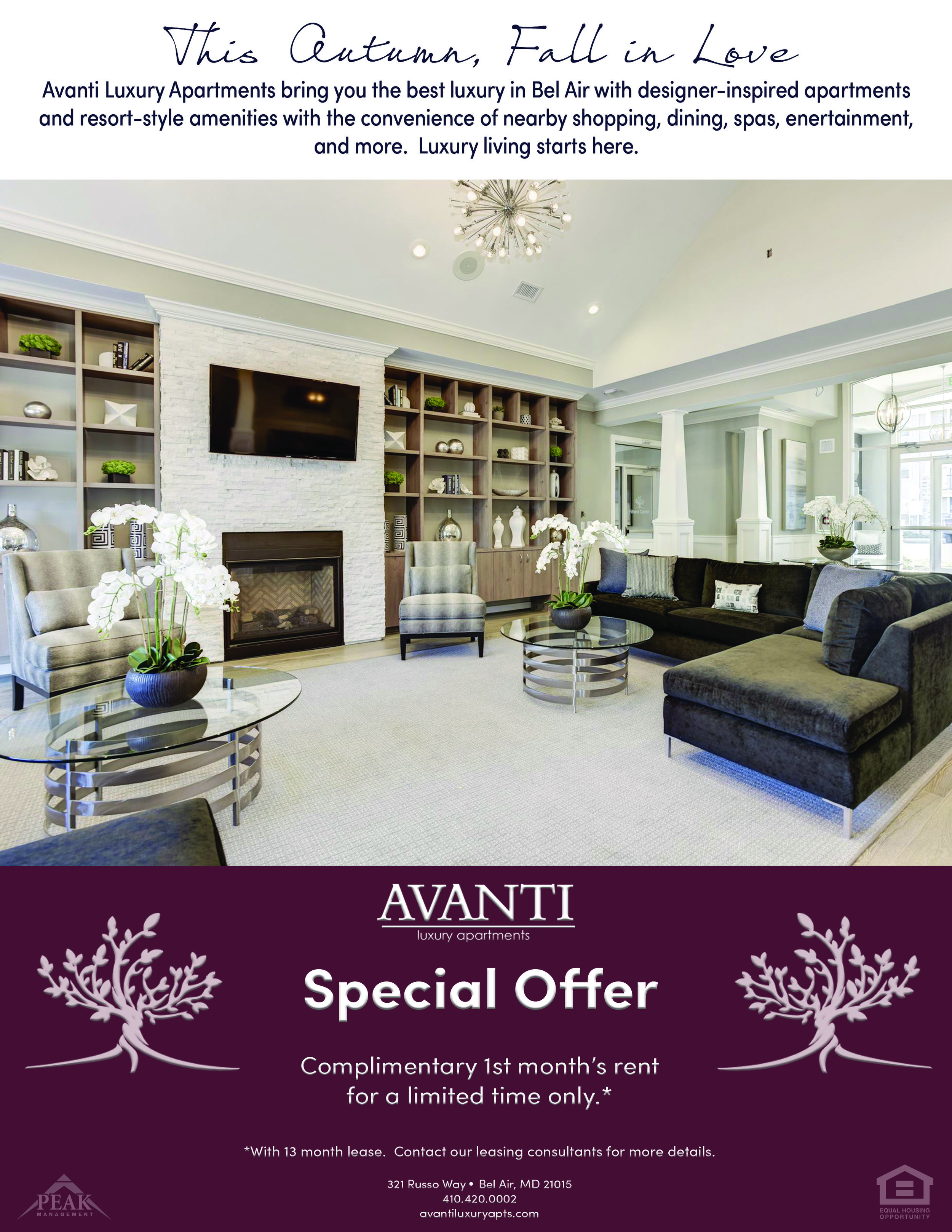 Avanti Luxury Apartments Fall Promotion