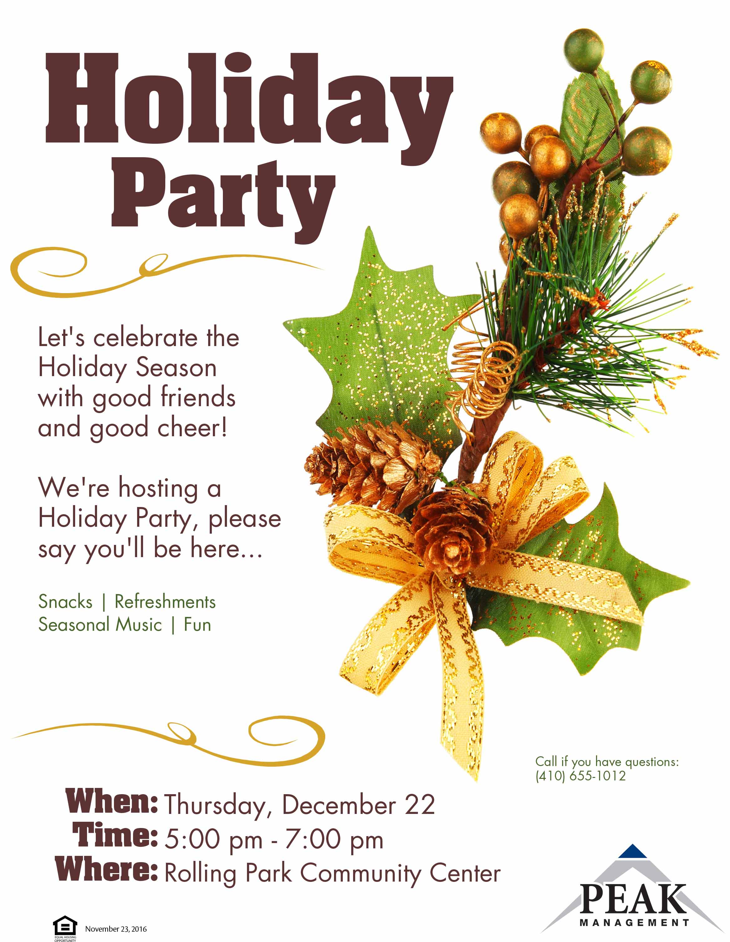 Rolling Park Apartments Holiday Party Invitation 2016