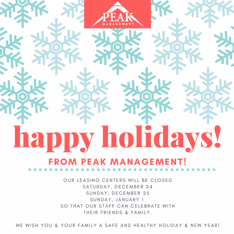Peak Management Holiday Hours