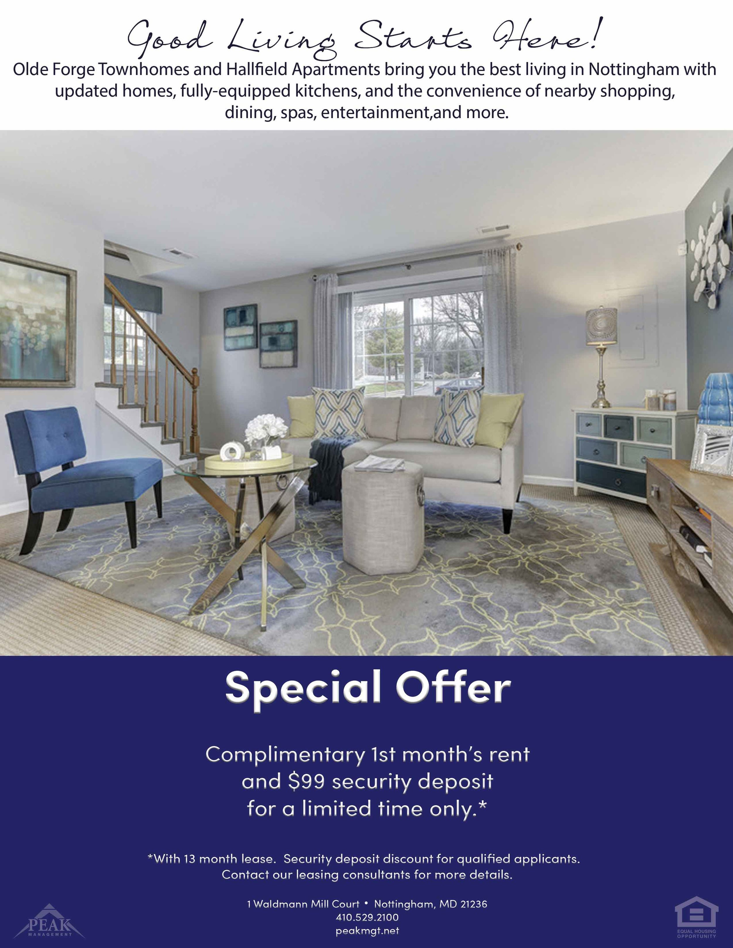 Olde Forge Rental Townhomes & Hallfield Apartments March Promotion