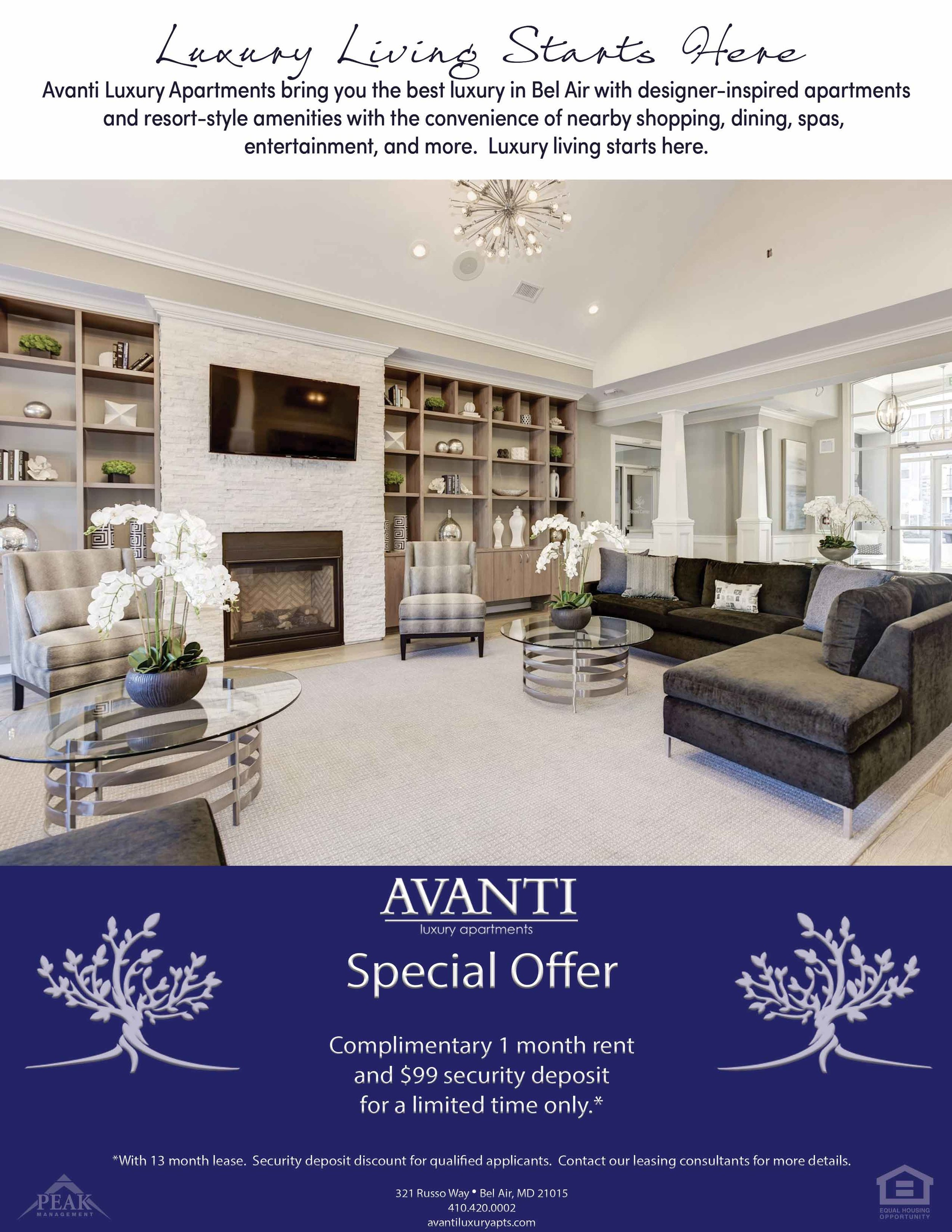 Avanti Luxury Apartments in Bel Air - March Rent Special