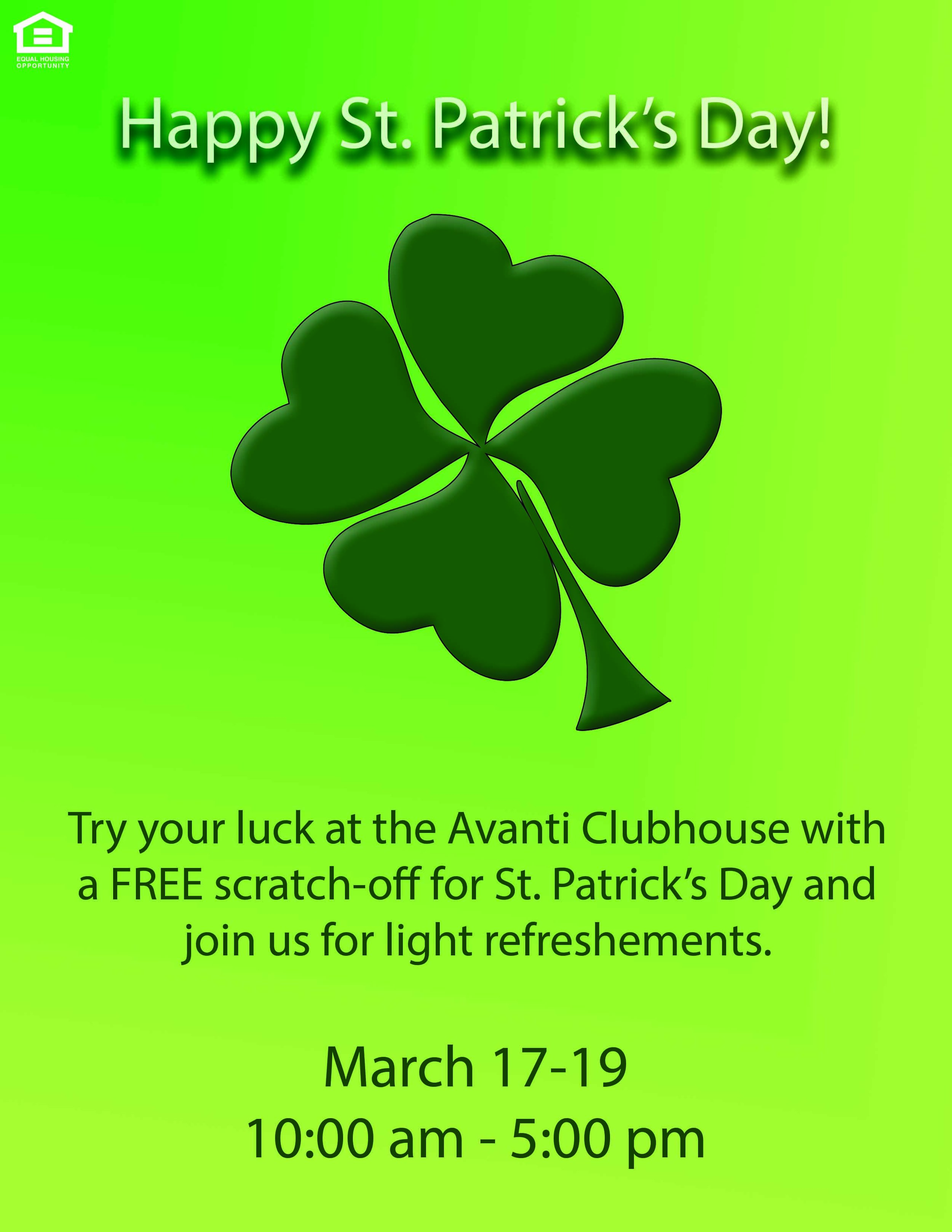 St. Patrick's Day Party at Avanti Luxury Apartments