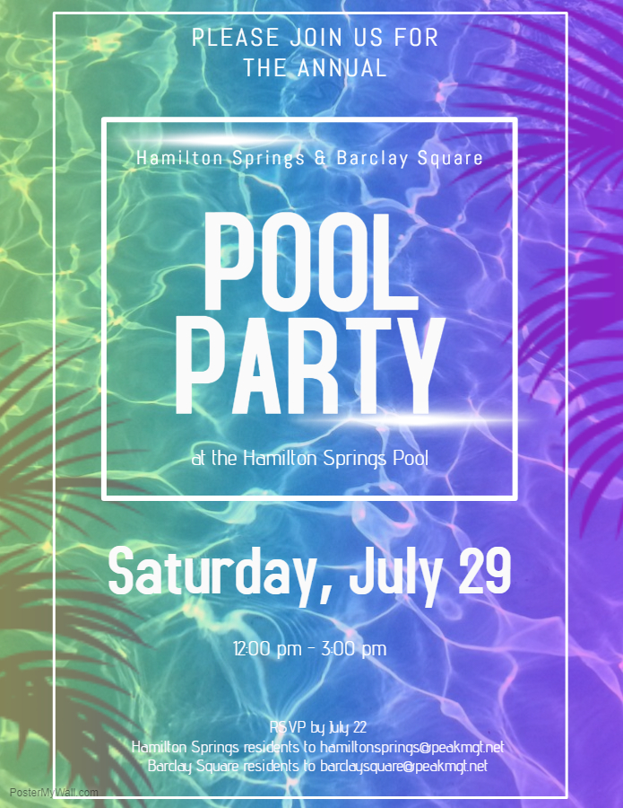 Barclay Square & Hamilton Springs Apartments in Baltimore Annual Pool Party