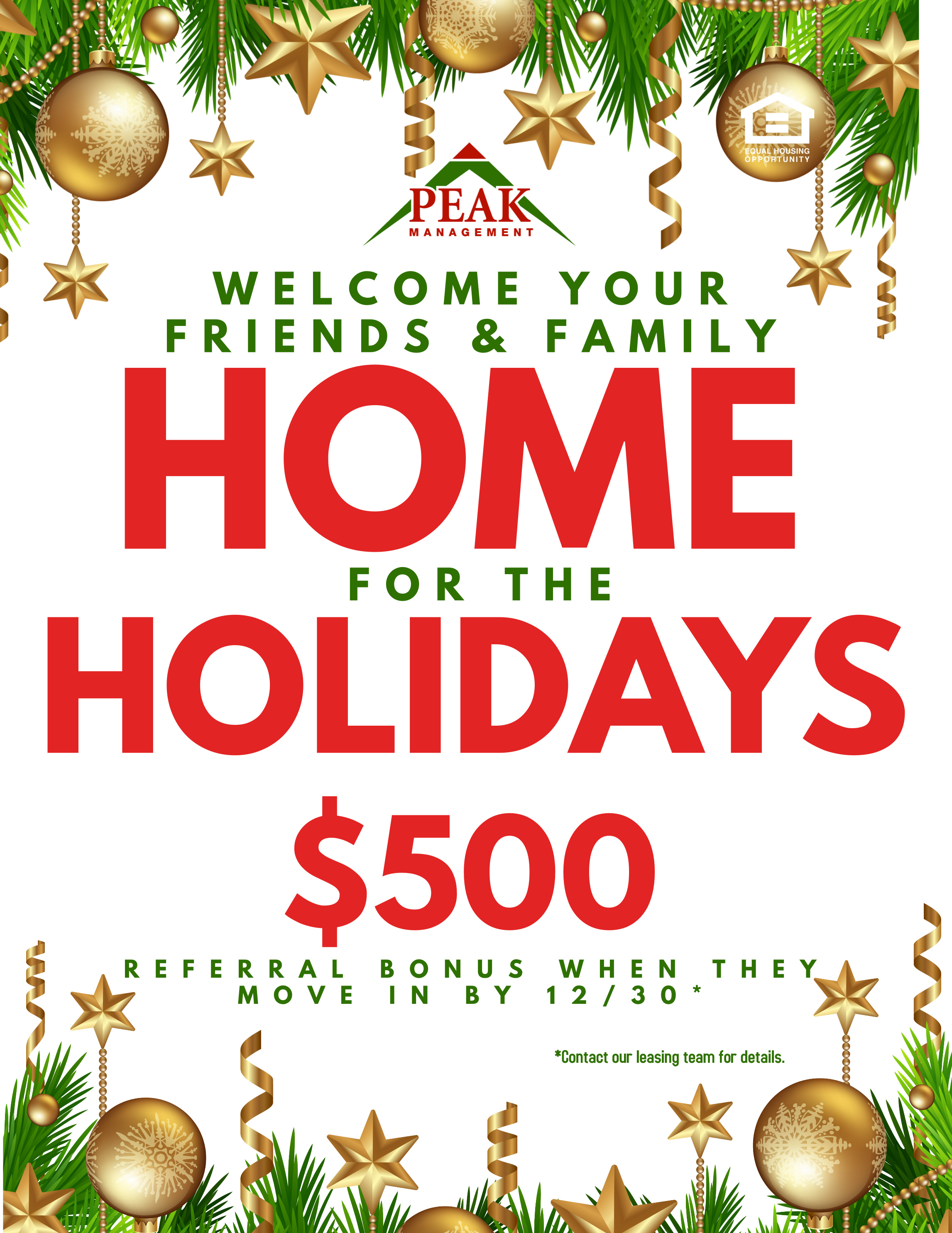 Peak Management (Baltimore, MD Apartments) - Home for the Holidays Referral Promotion