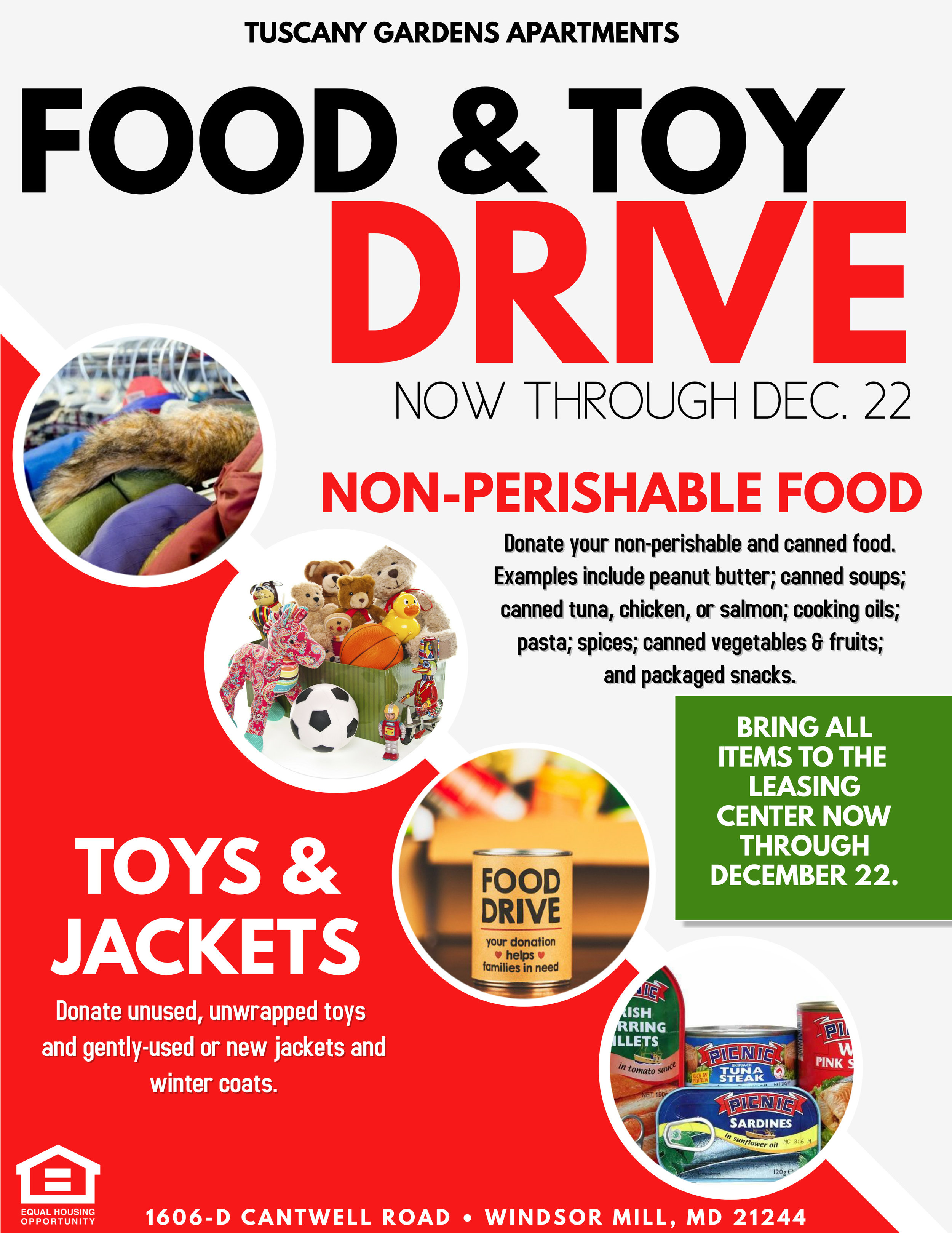 Food Drive at Tuscany Woods Apartments in Windsor Mill, MD