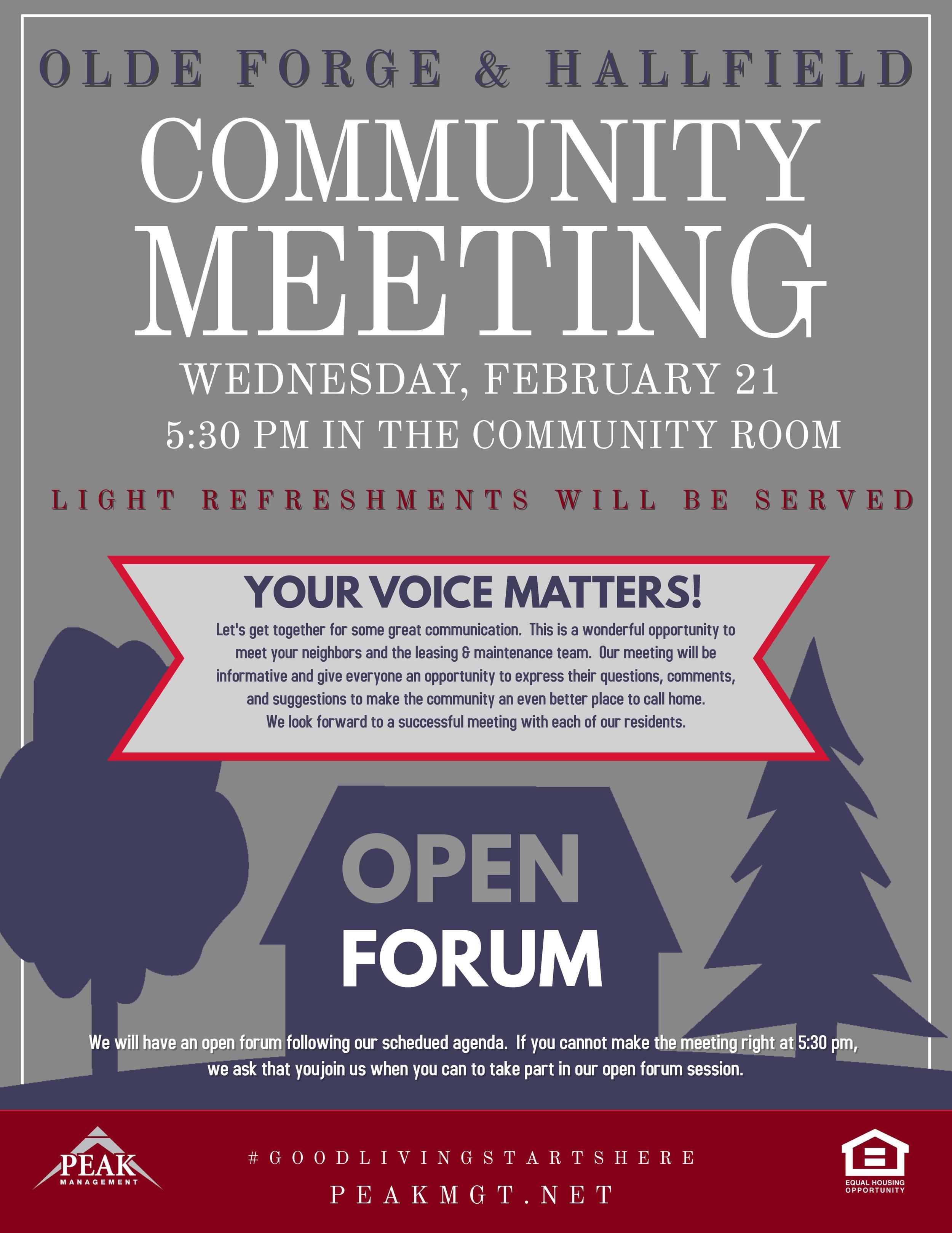 Community Meeting at Olde Forge & Hallfield
