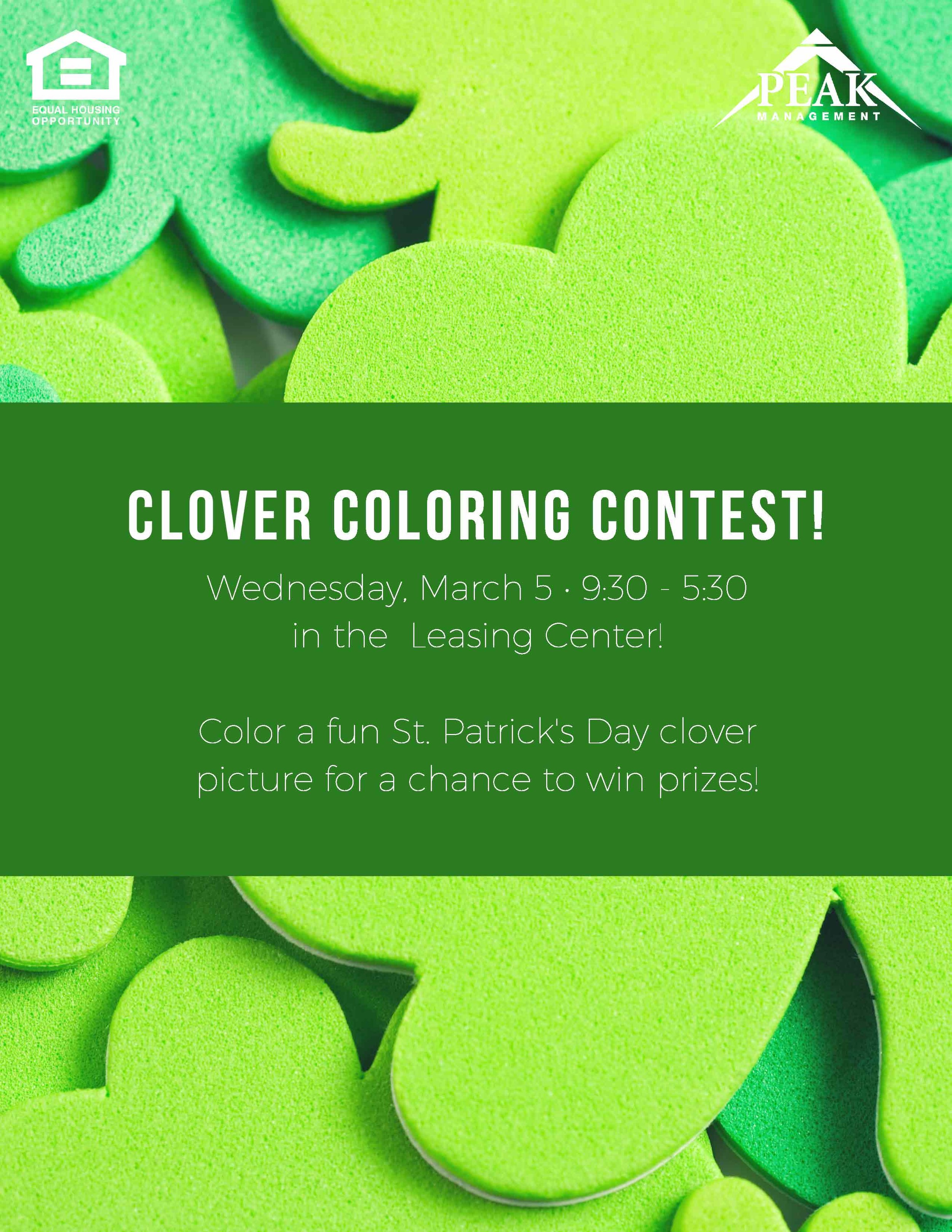2018 St. Patrick's Day Coloring Contest at Tuscany Woods Apartments in Windsor Mill, MD.