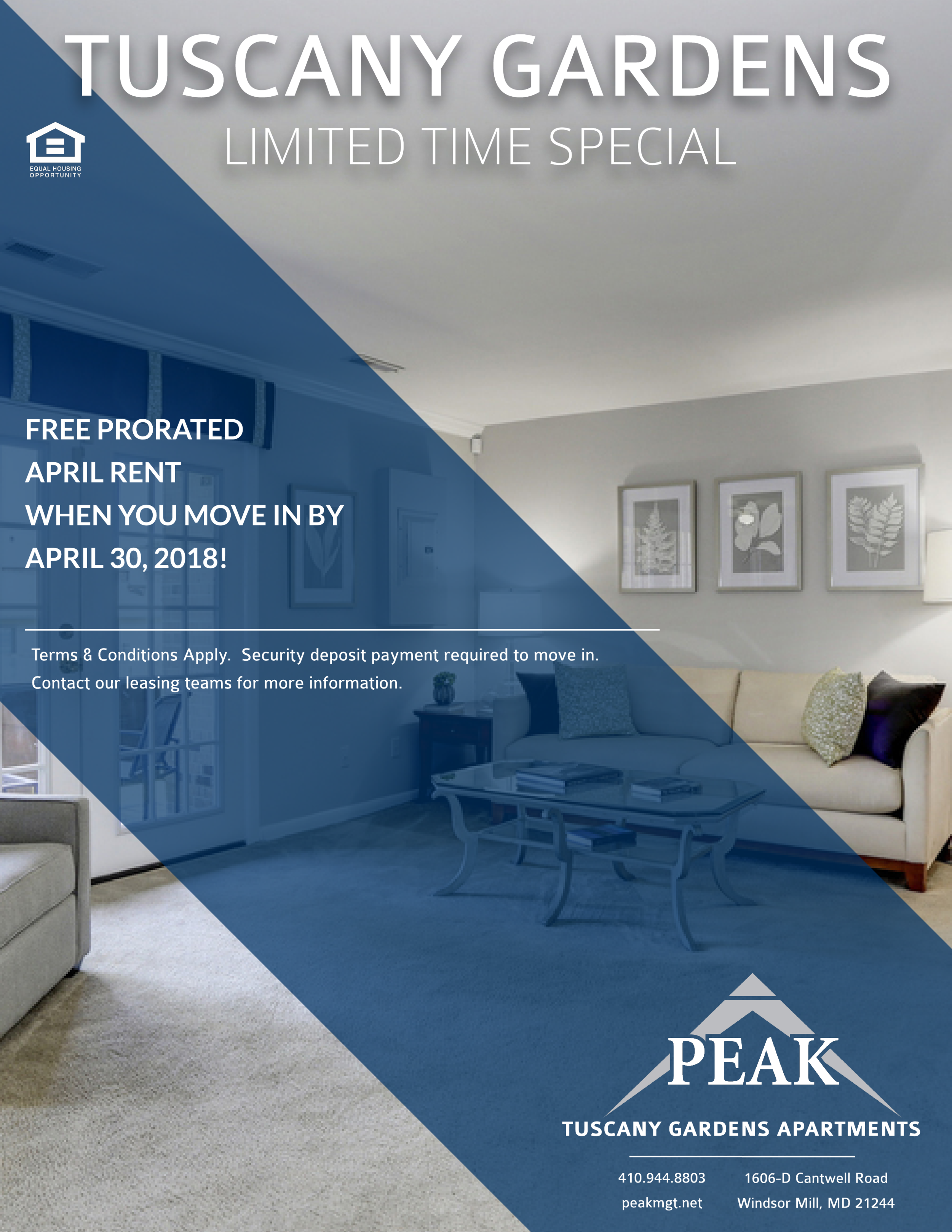 Tuscany Gardens Apartments in Windsor Mill, MD April Rent Promotion