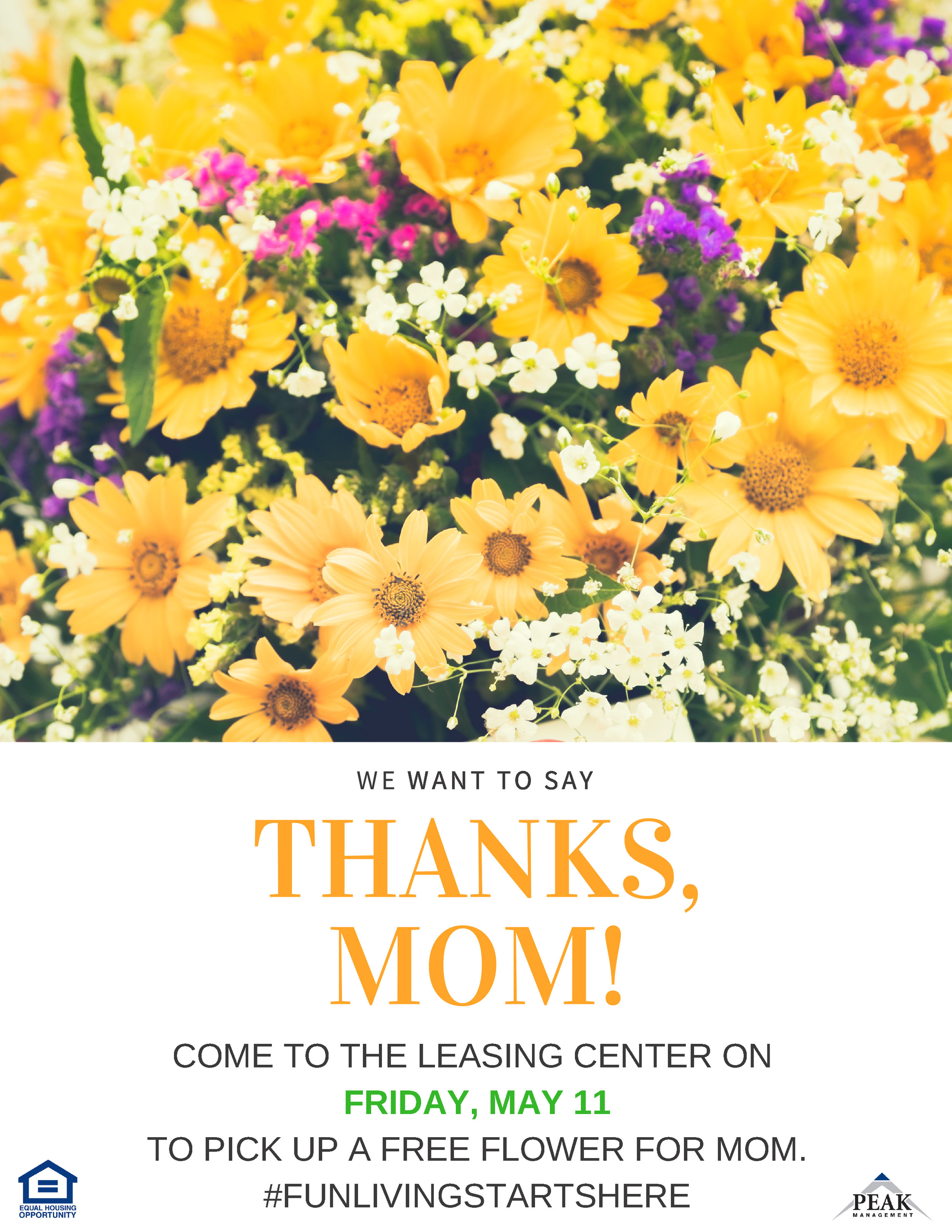 Mother's Day Flower Giveaway at Tuscany Woods Apartments in Windsor Mill, MD