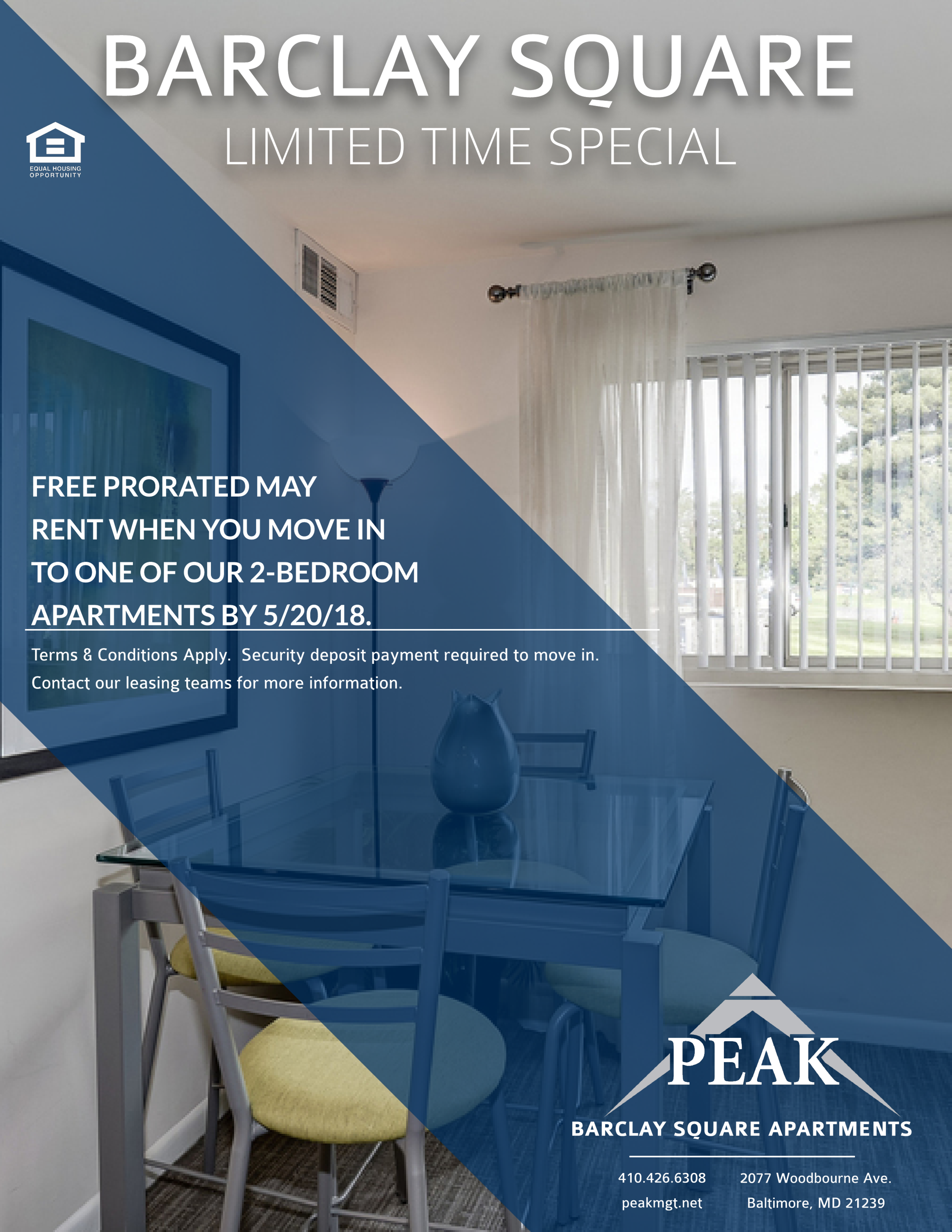 May 2018 Rent Promotion on 2 Bedroom Apartments at Barclay Square Apartments in Baltimore, MD