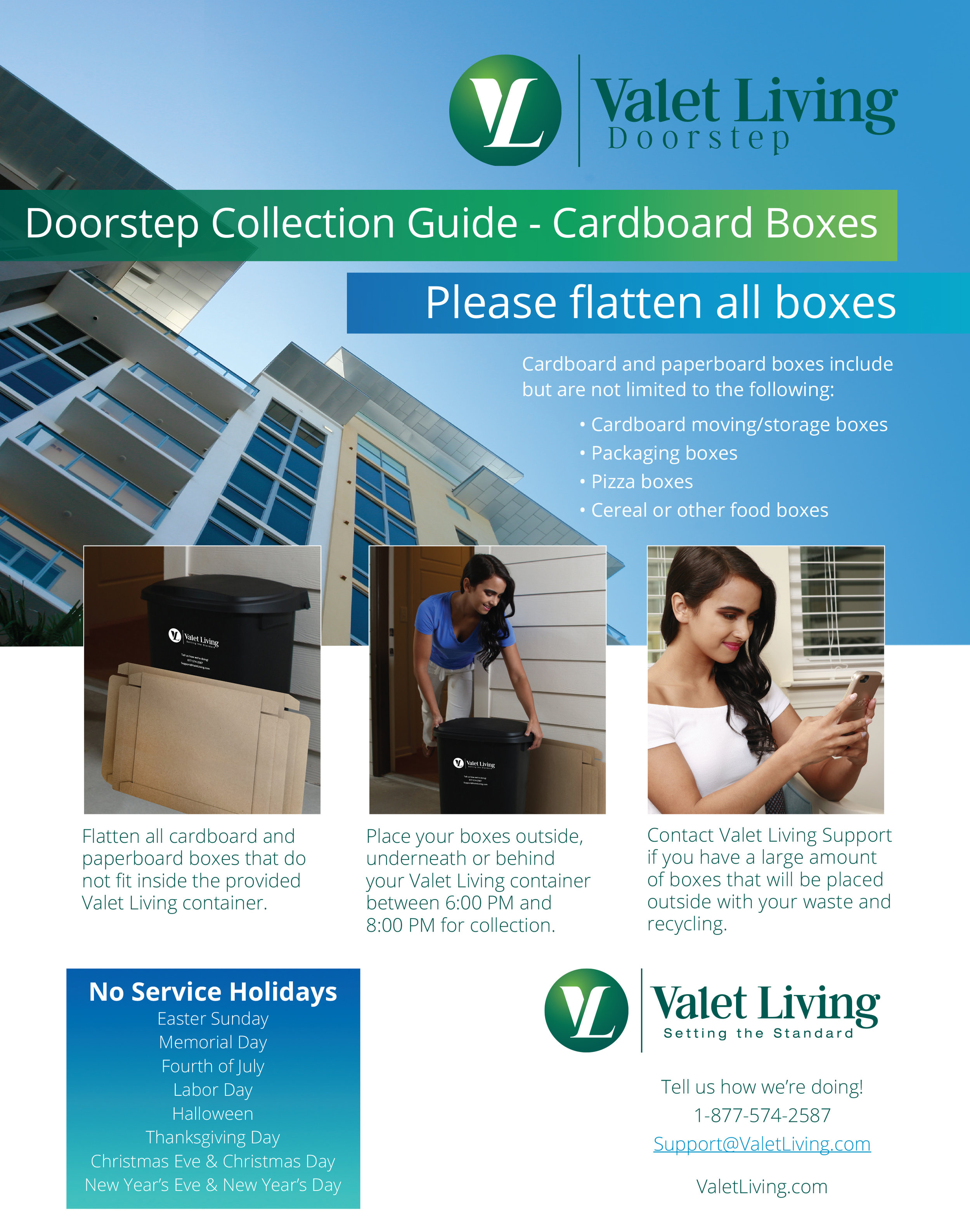 Valet Living Recycling Box Flattening Information