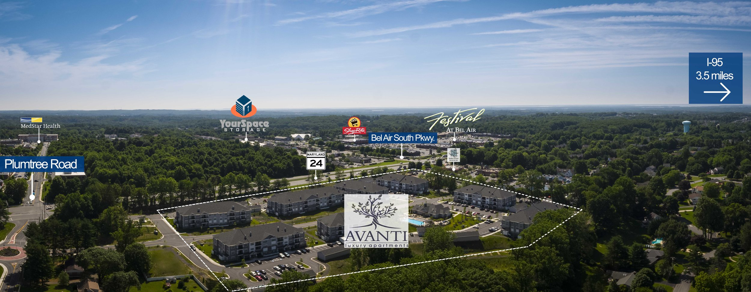 Aerial View of Avanti Luxury Apartments in Bel Air, MD