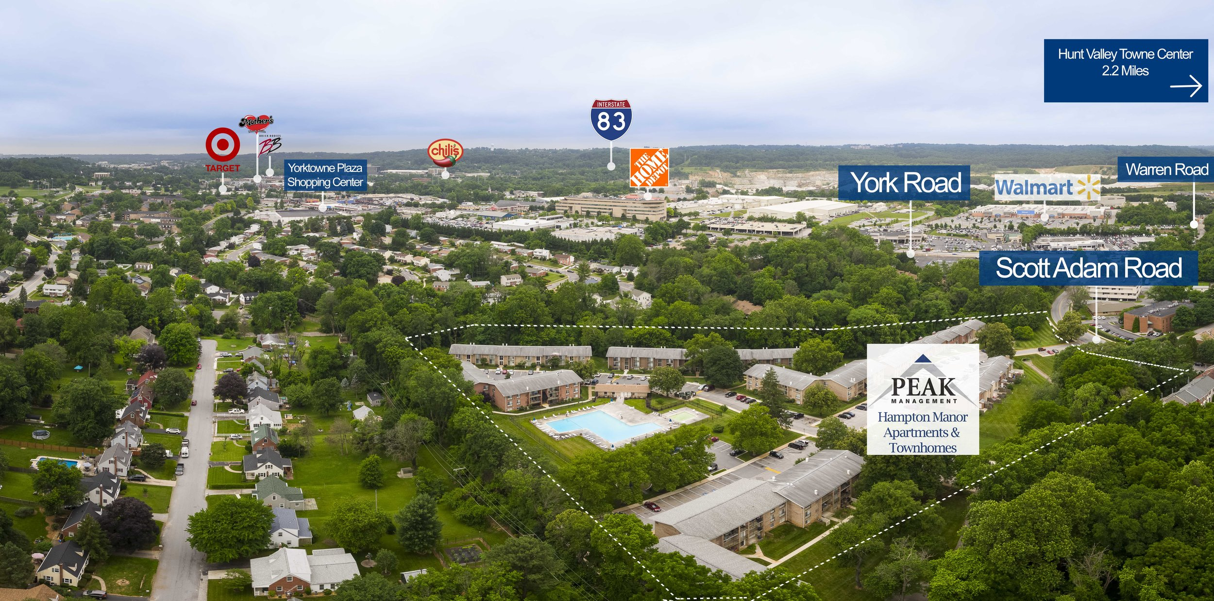 Aerial View of Hampton Manor Apartments & Townhomes