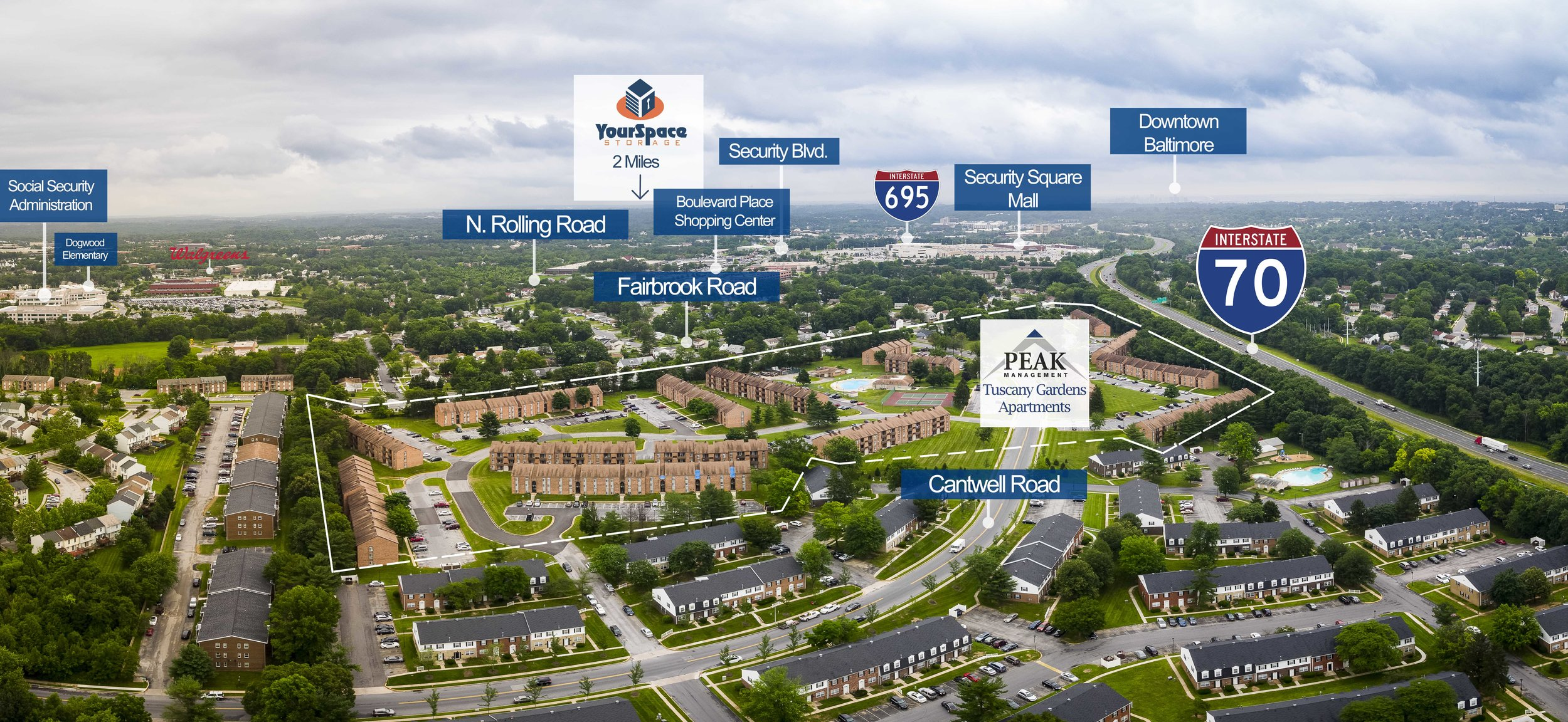 Aerial View of Tuscany Gardens Apartments in Windsor Mill, MD 21244