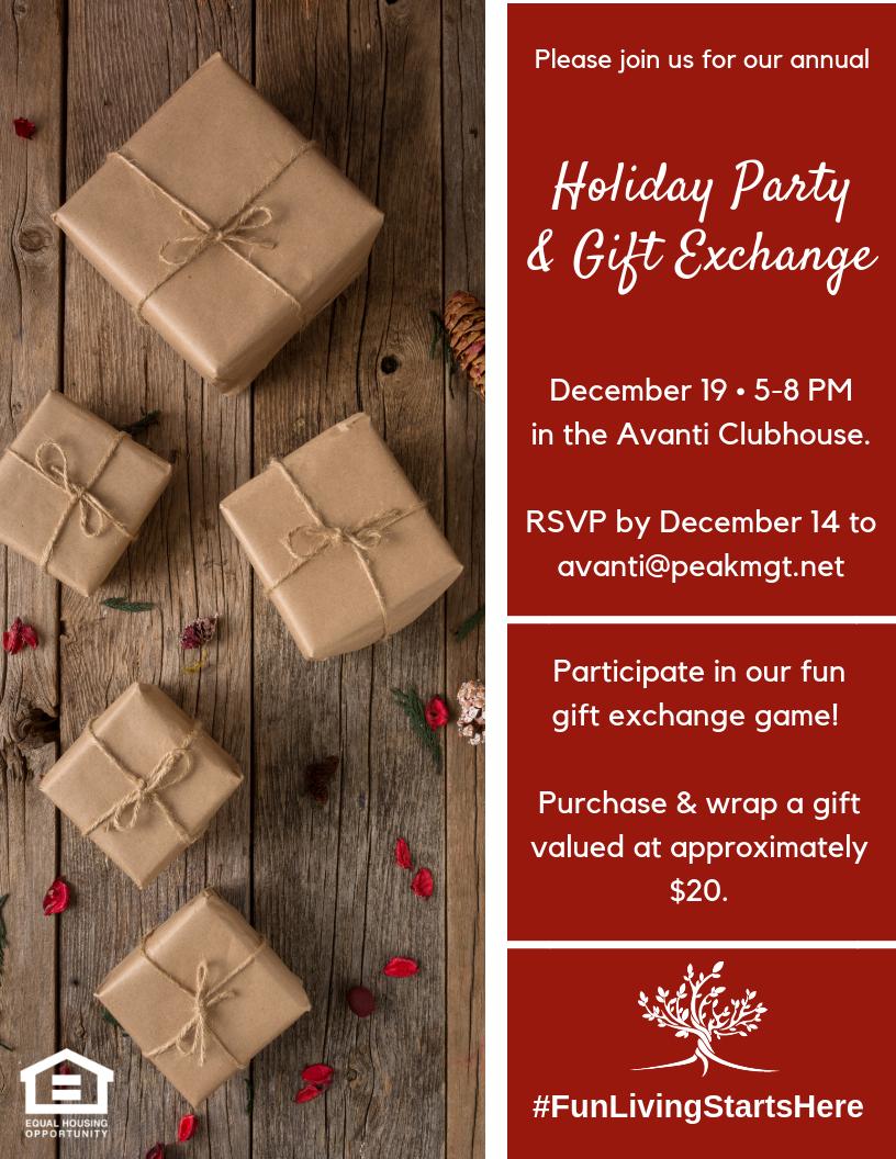 Avanti Luxury Apartments Gift Exchange