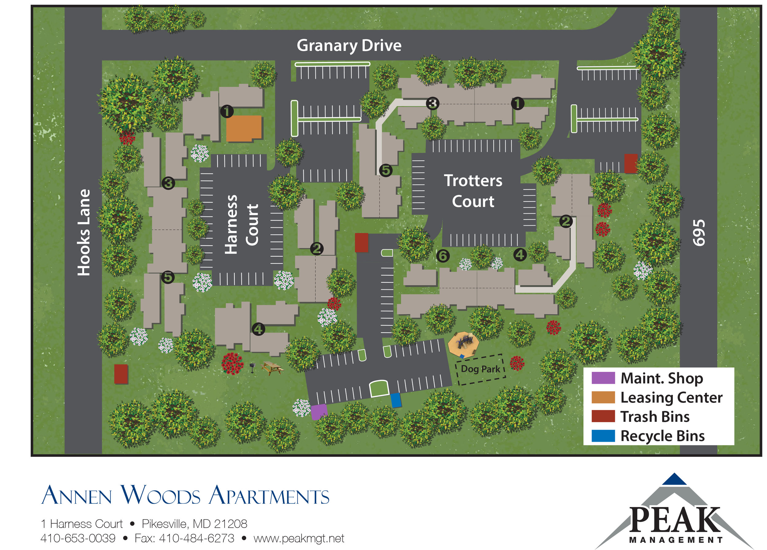 Site Plan of Annen Woods Apartments in Pikesville, MD