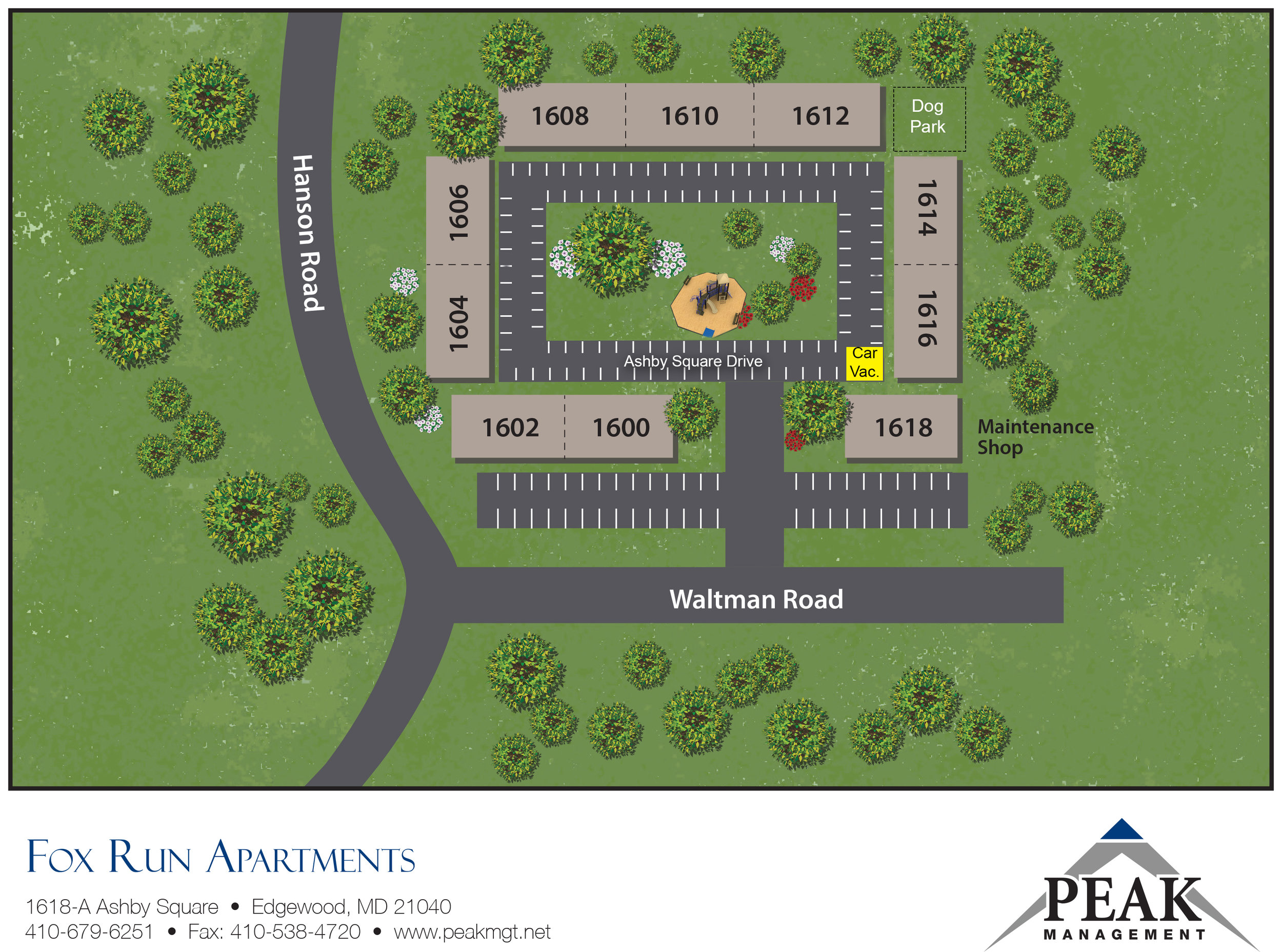 Community Map of Fox Run Apartments in Edgewood, MD