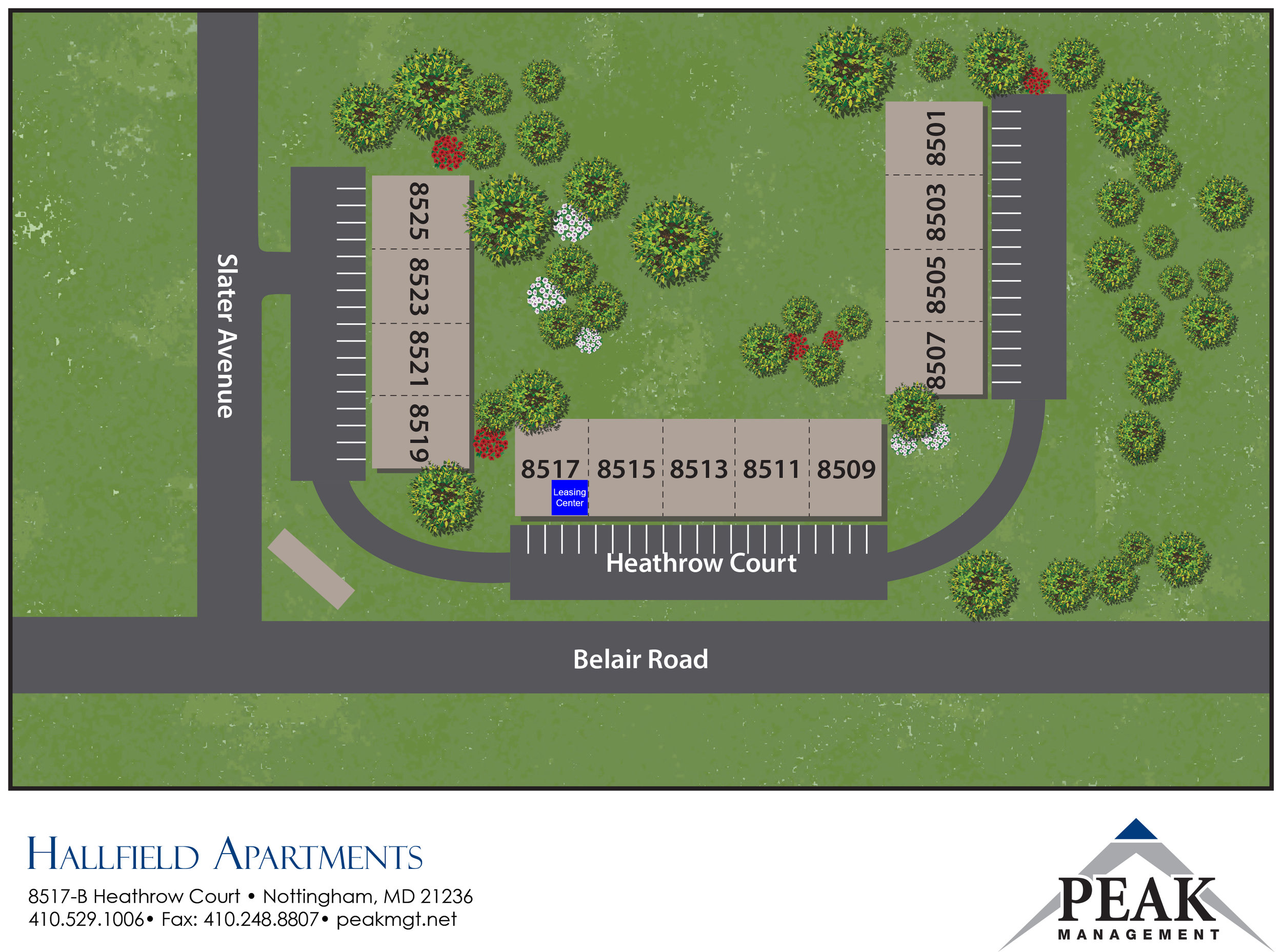 Site Map of Hallfield Apartments in Perry Hall, MD