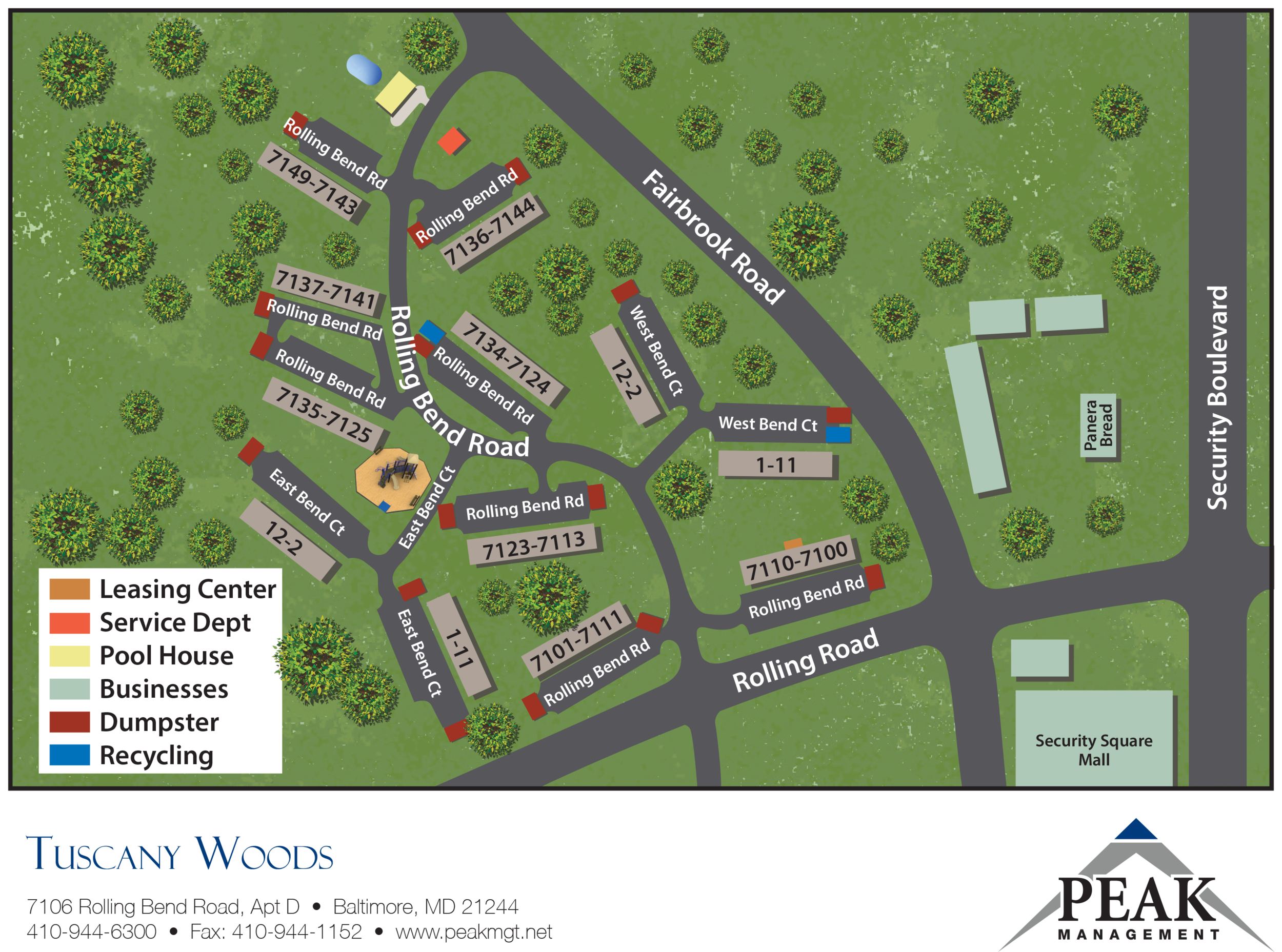 Community Map of Tuscany Woods Apartments in Windsor Mill, MD