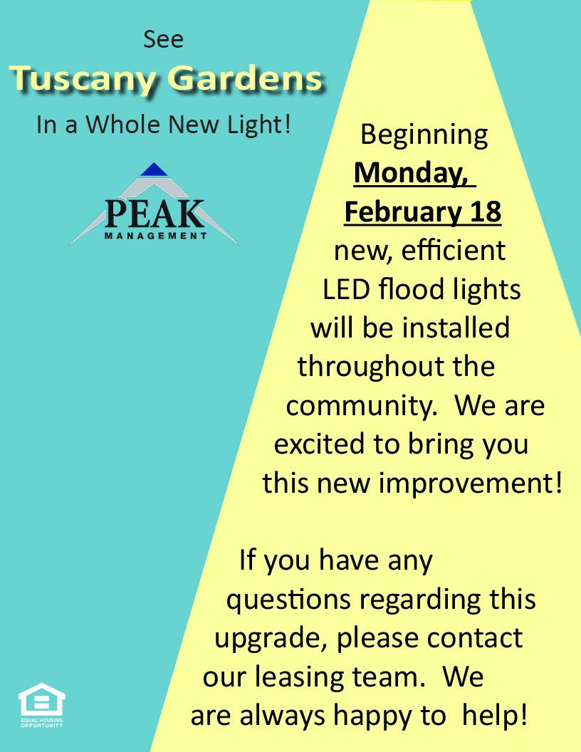 New LED Lights at Tuscany Gardens Apartments
