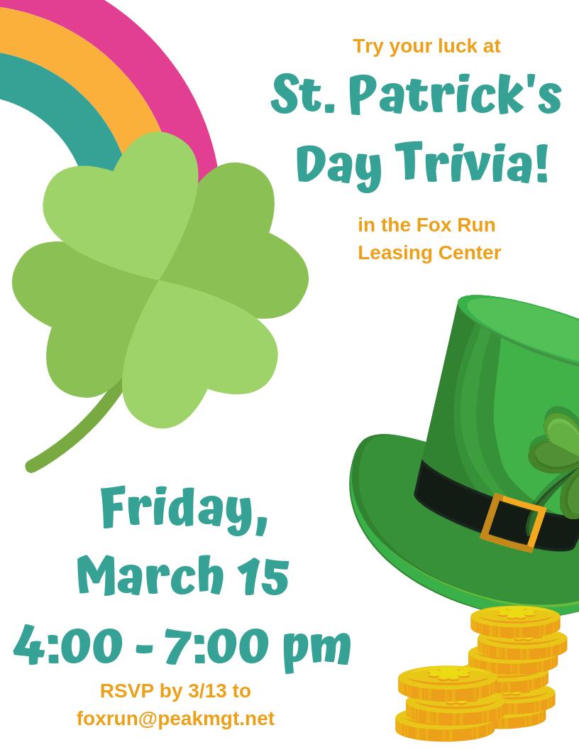 St. Patrick's Day Trivia at Fox Run Apartments