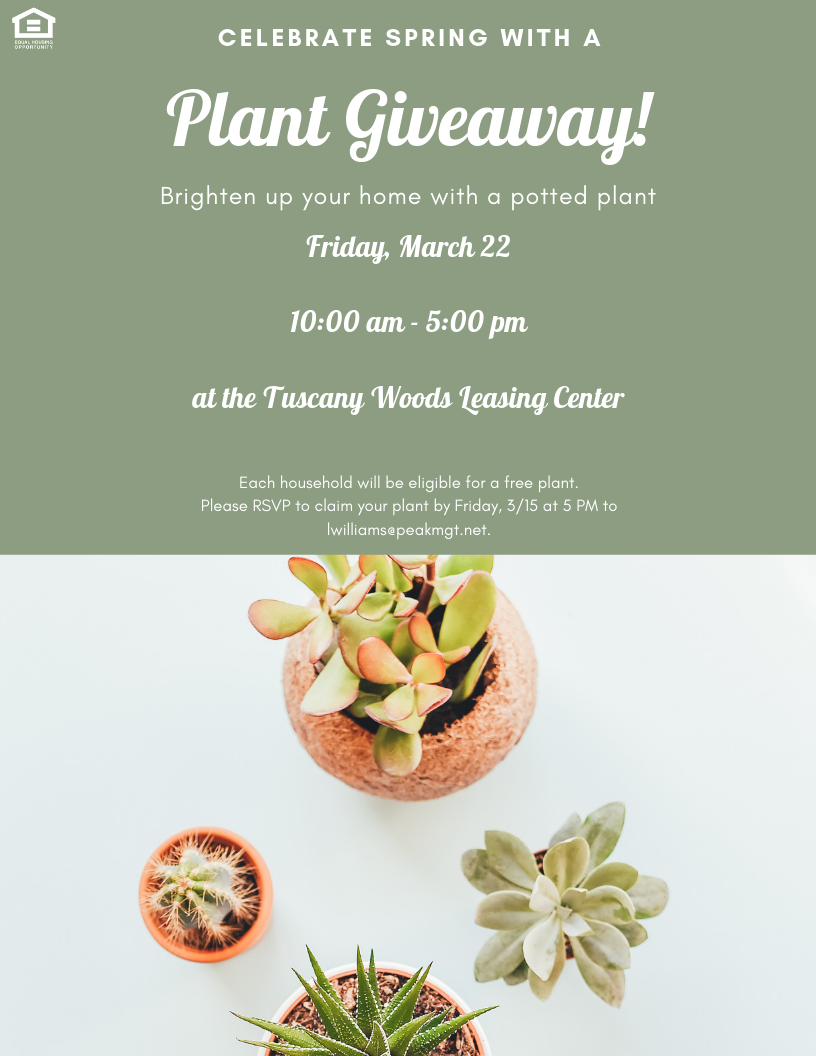 Spring Plant Giveaway at Tuscany Woods Apartments