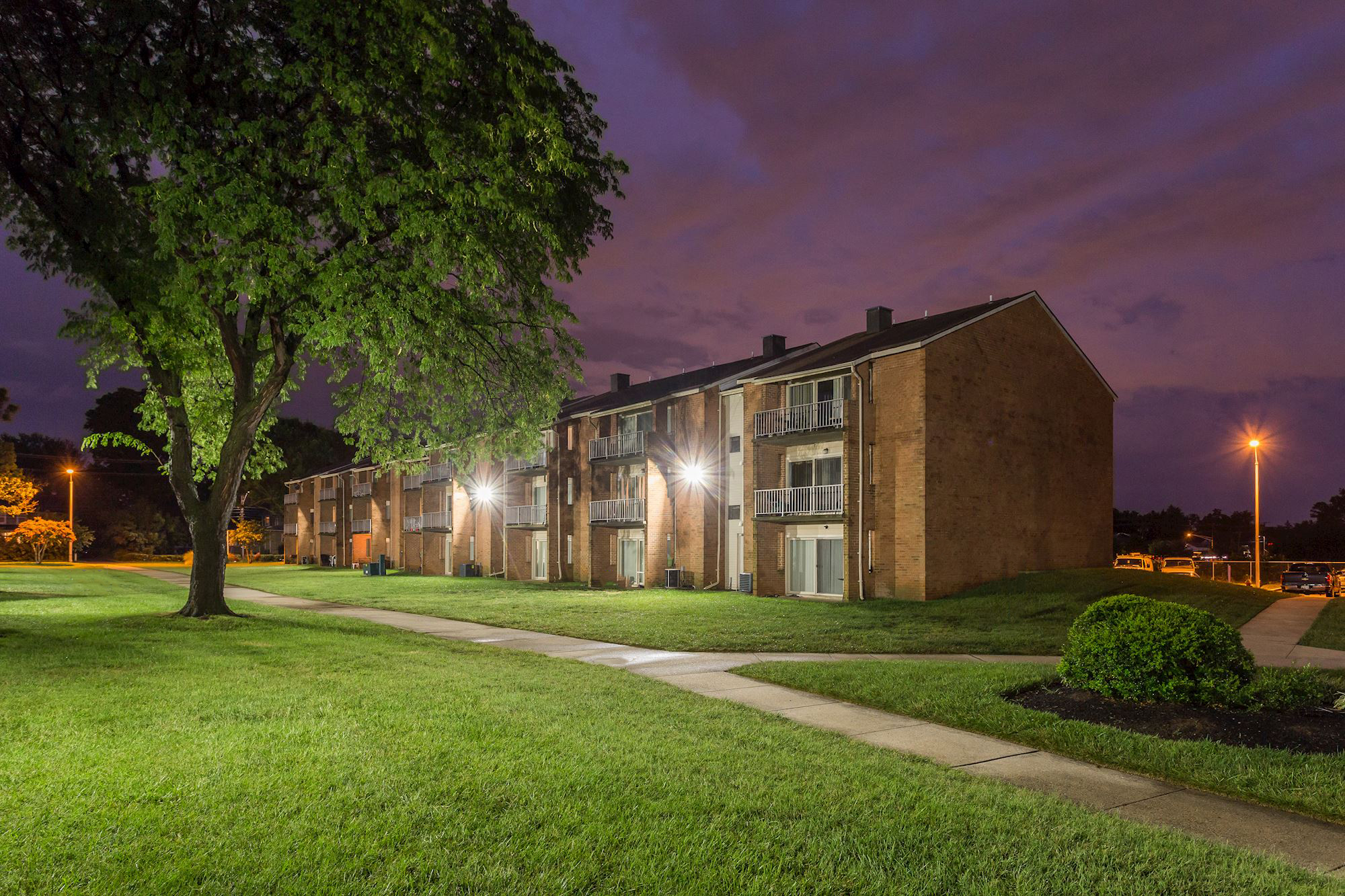 Rolling Park Apartments in Windsor Mill, MD - Night Photo