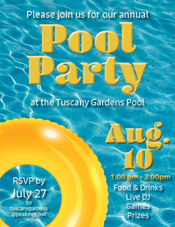 Tuscany Gardens Pool Party
