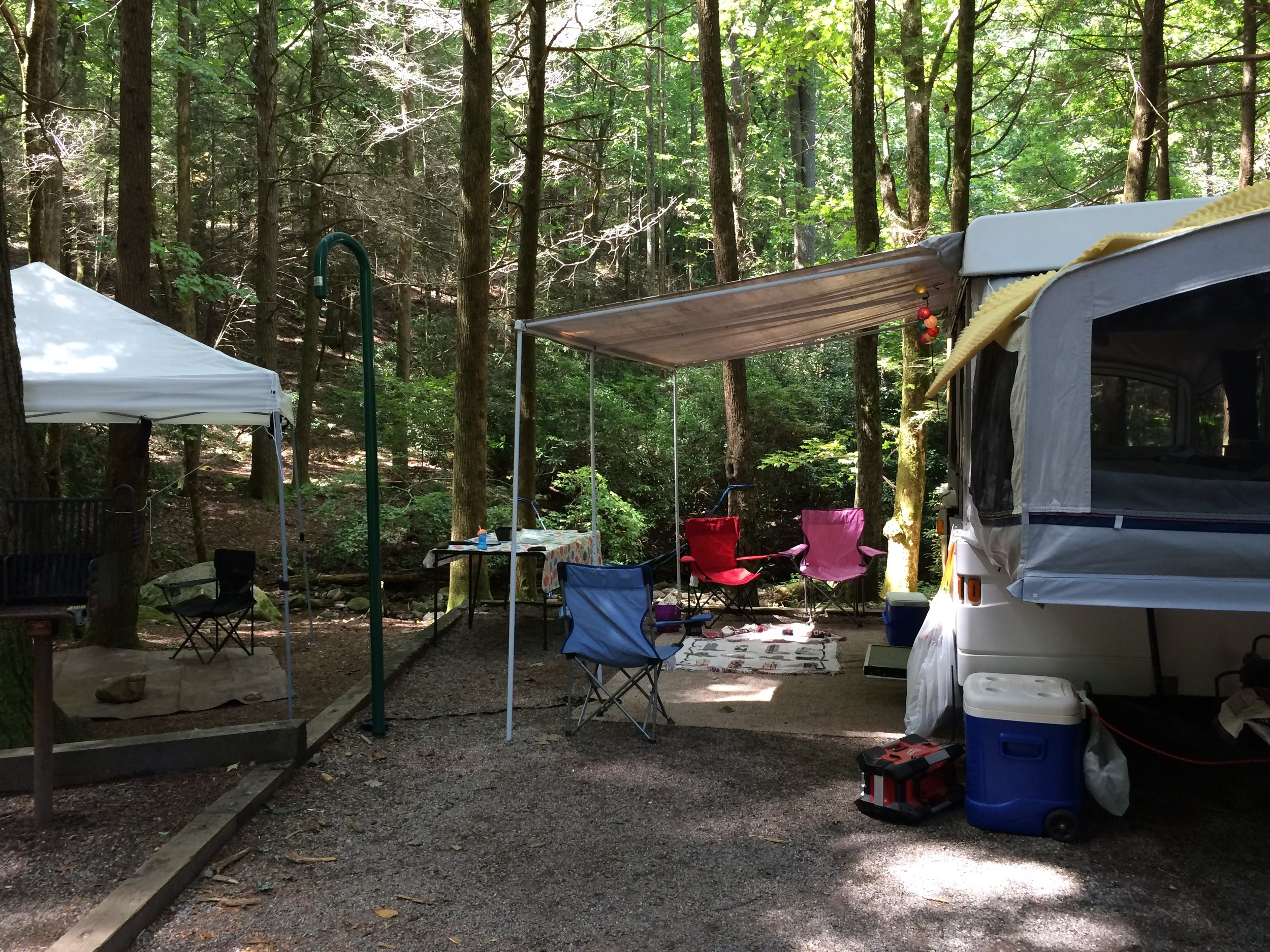 Plenty of space to set up, with running creek in the back.