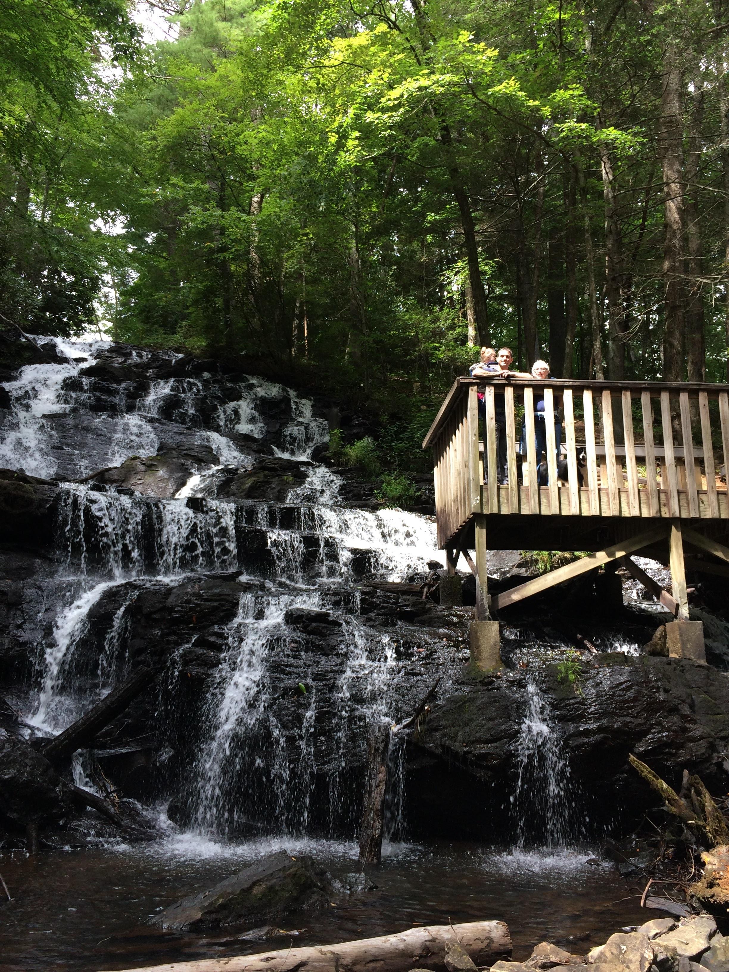 Waterfall at base of lake