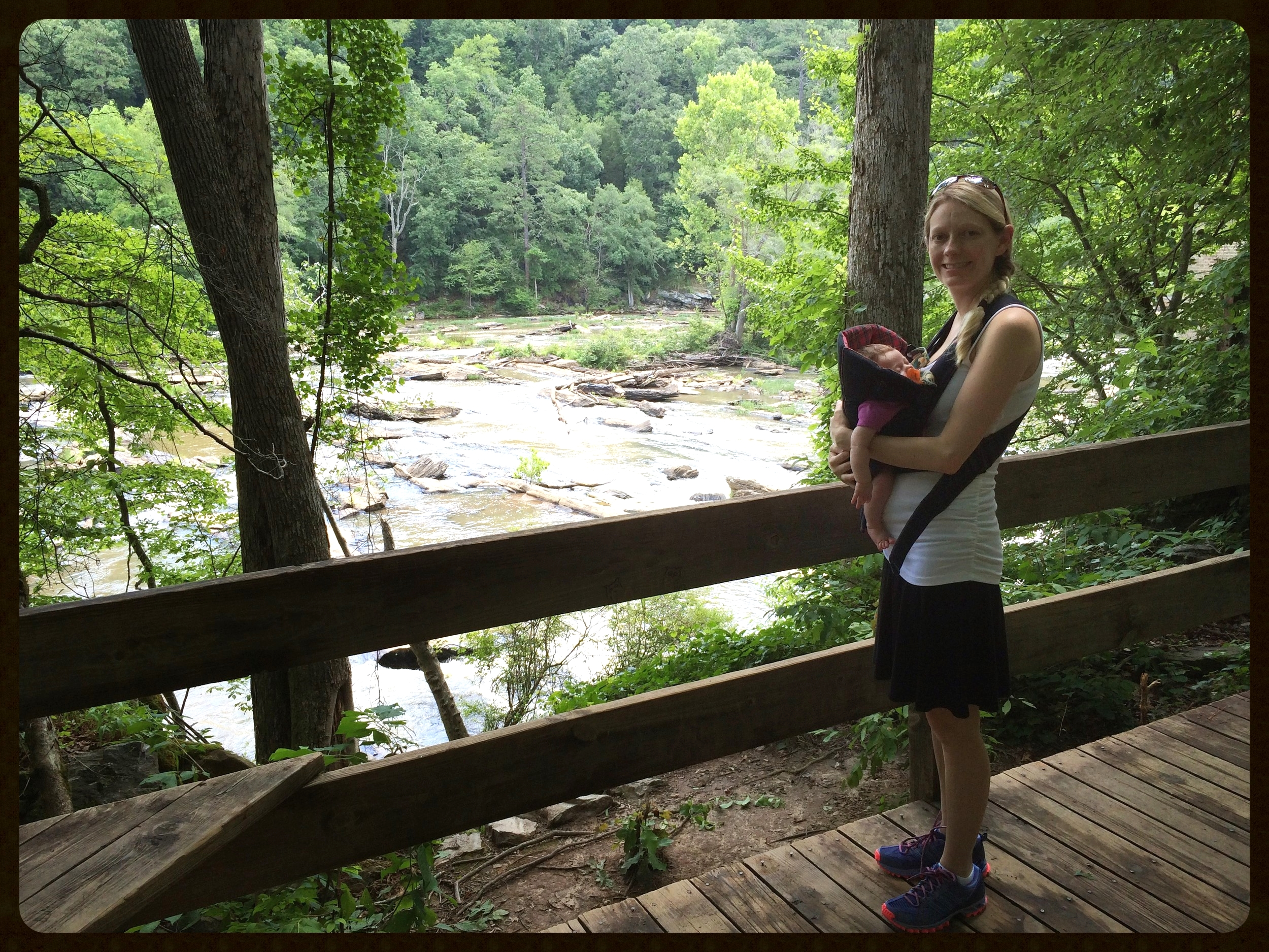 Ava at 23 days old, hiking at Sweetwater Creek State Park