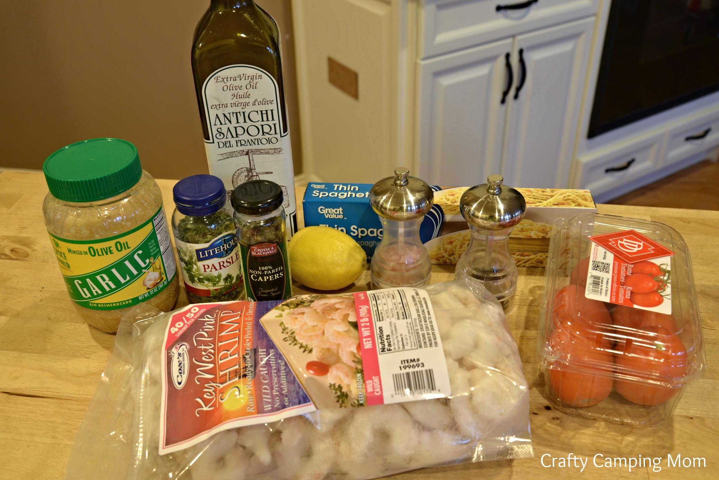 Ingredients for the skillet shrimp pasta dinner