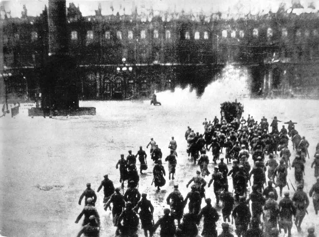 Re-enactment of Storming of the winter Palace as used as actual event in above newspaper clipping.