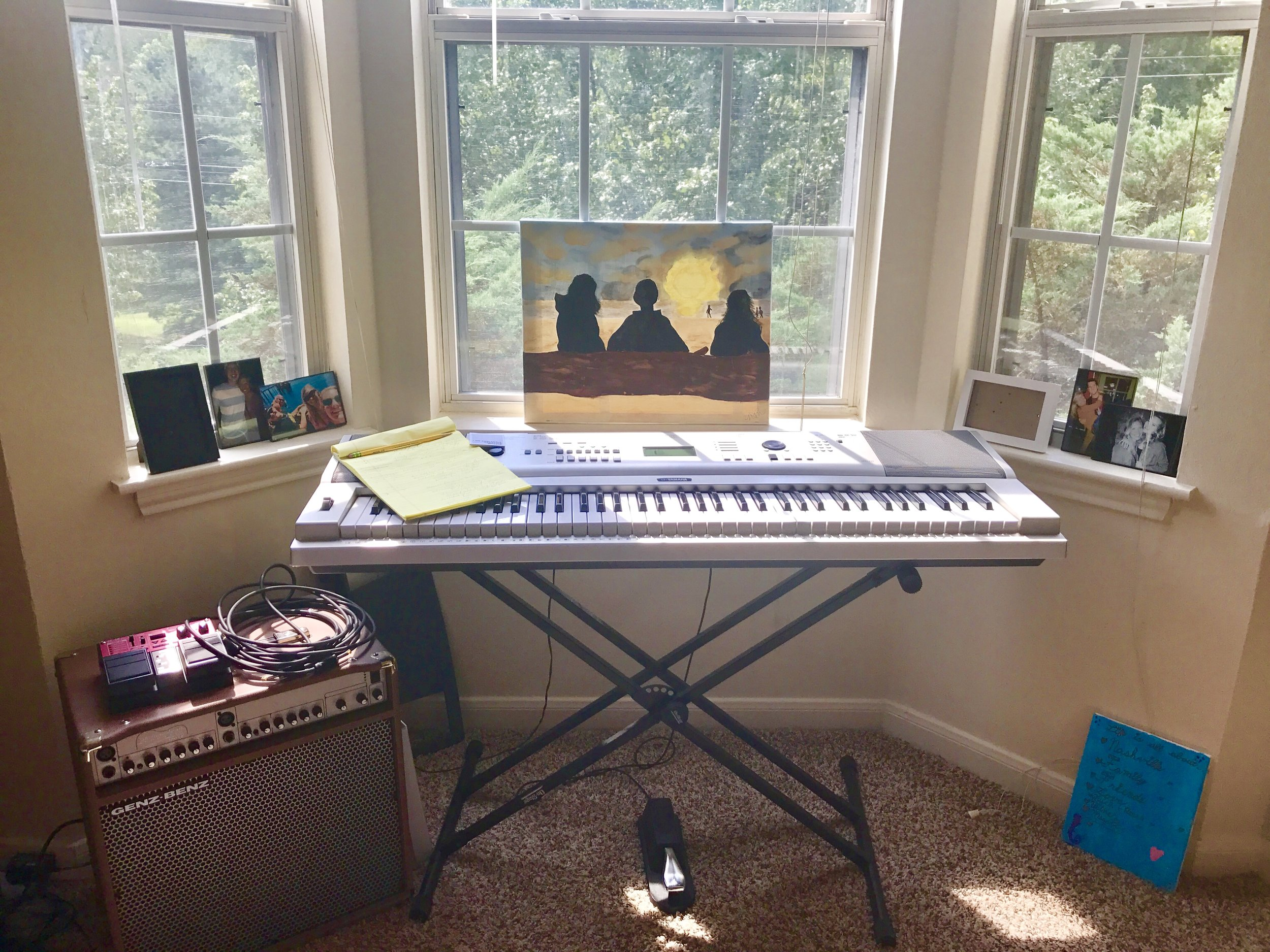 My lovely work space with lovely little windows to match. Featuring photos of some of the people that make my heart happy and a painting I did of one of my favorite memories on the coast of Oregon (The Pacific Northwest has my heart).