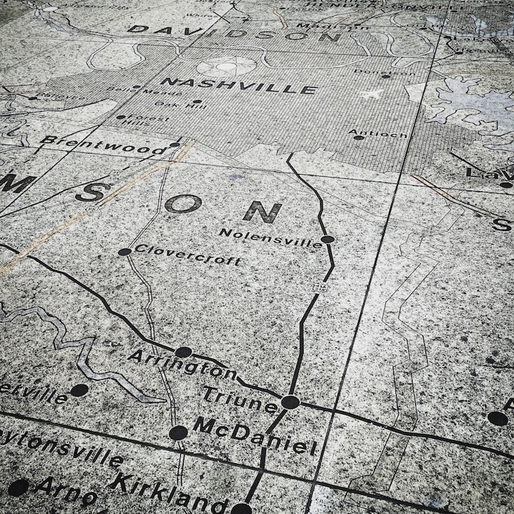 Bicentennial Park at the state capitol features an incredibly large stone map of Tennessee.