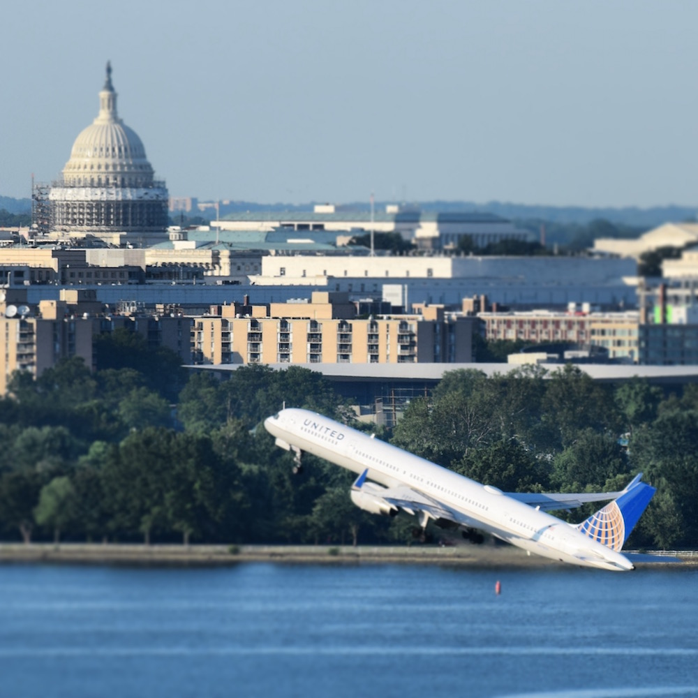 Happy Fourth of July from Wine:Thirty Flight in American's Capital! We're sending our many thanks to all who keep us safe in the skies!  Here a United Airlines Boeing 757-300 takes with the U.S. Capitol in the background, headed on its daily flight to Denver.  A beautiful elegant airplane, the 757-300  is currently the largest plane flying a scheduled daily route out of  Ronald Reagan Washington National Airport . United flies one per day to Denver, and the other to San Francisco.