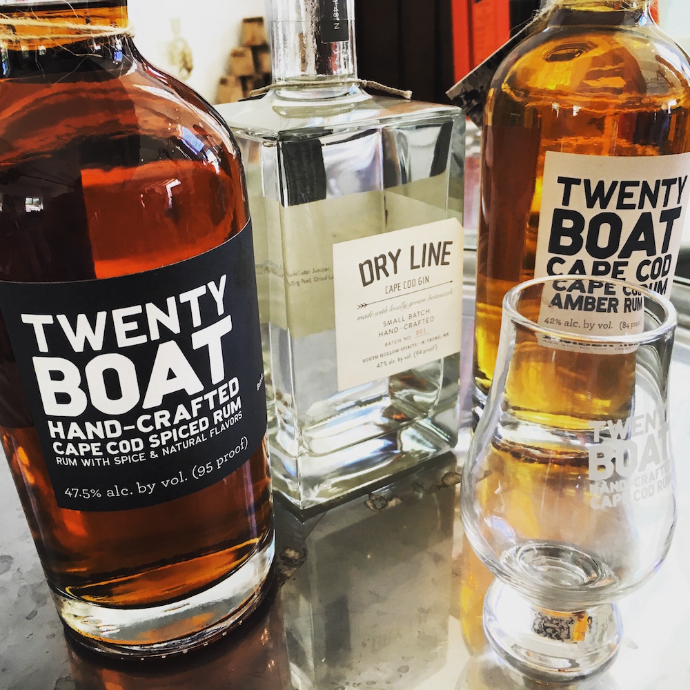The fruits of much labor: Twenty Boat Spiced Rum, Dry Line Gin, and Twenty Boat Amber Rum.