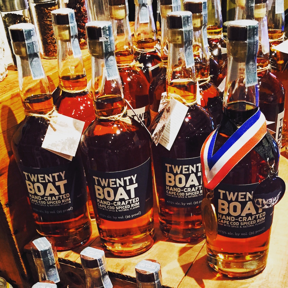 The popular Twenty Boat Spiced Rum is available for sale by 375 and 750 ml in the shop at South Hollow Spirits + Truro Vineyards.