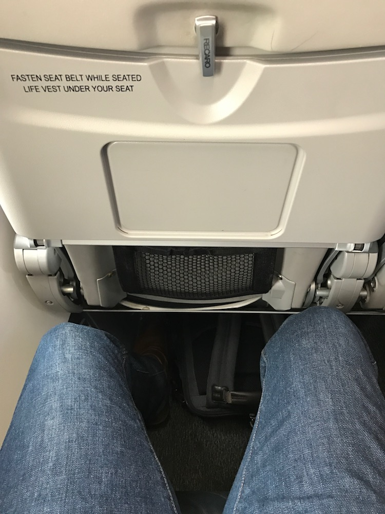 Nothing fancy, but no leg room issues for me!