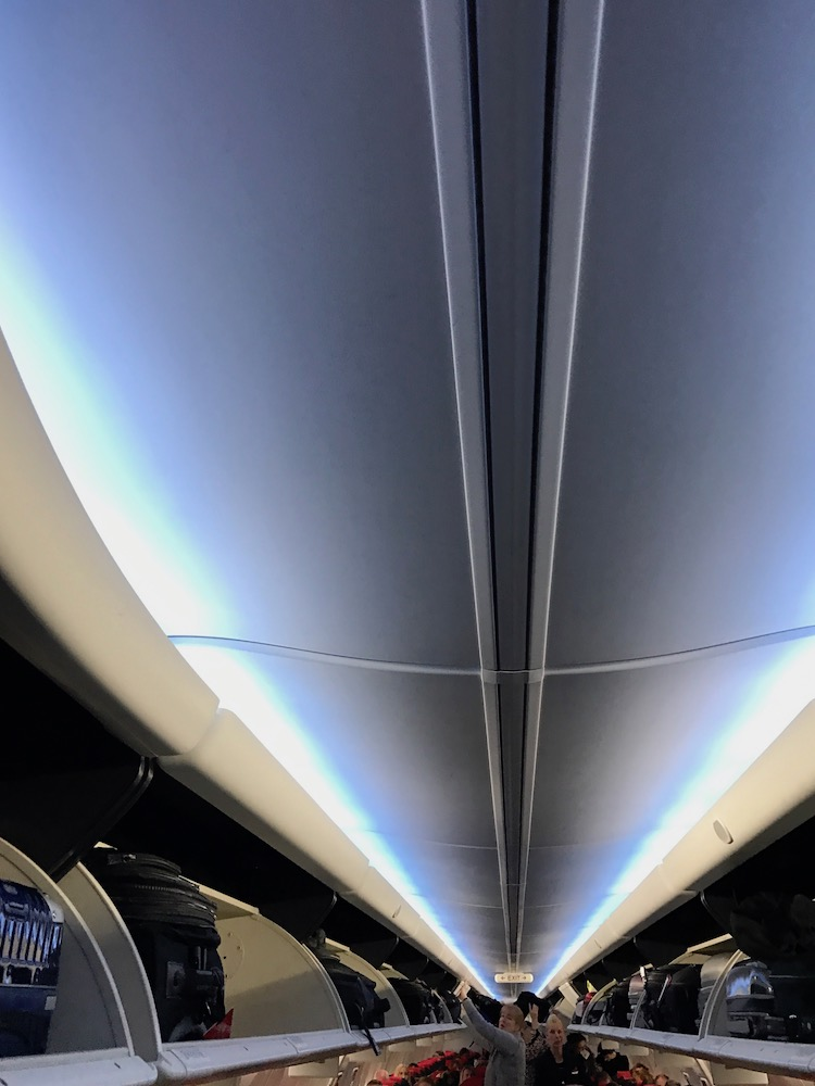 Overhead bin space is reasonable. Ambient lighting is a step above the ordinary.