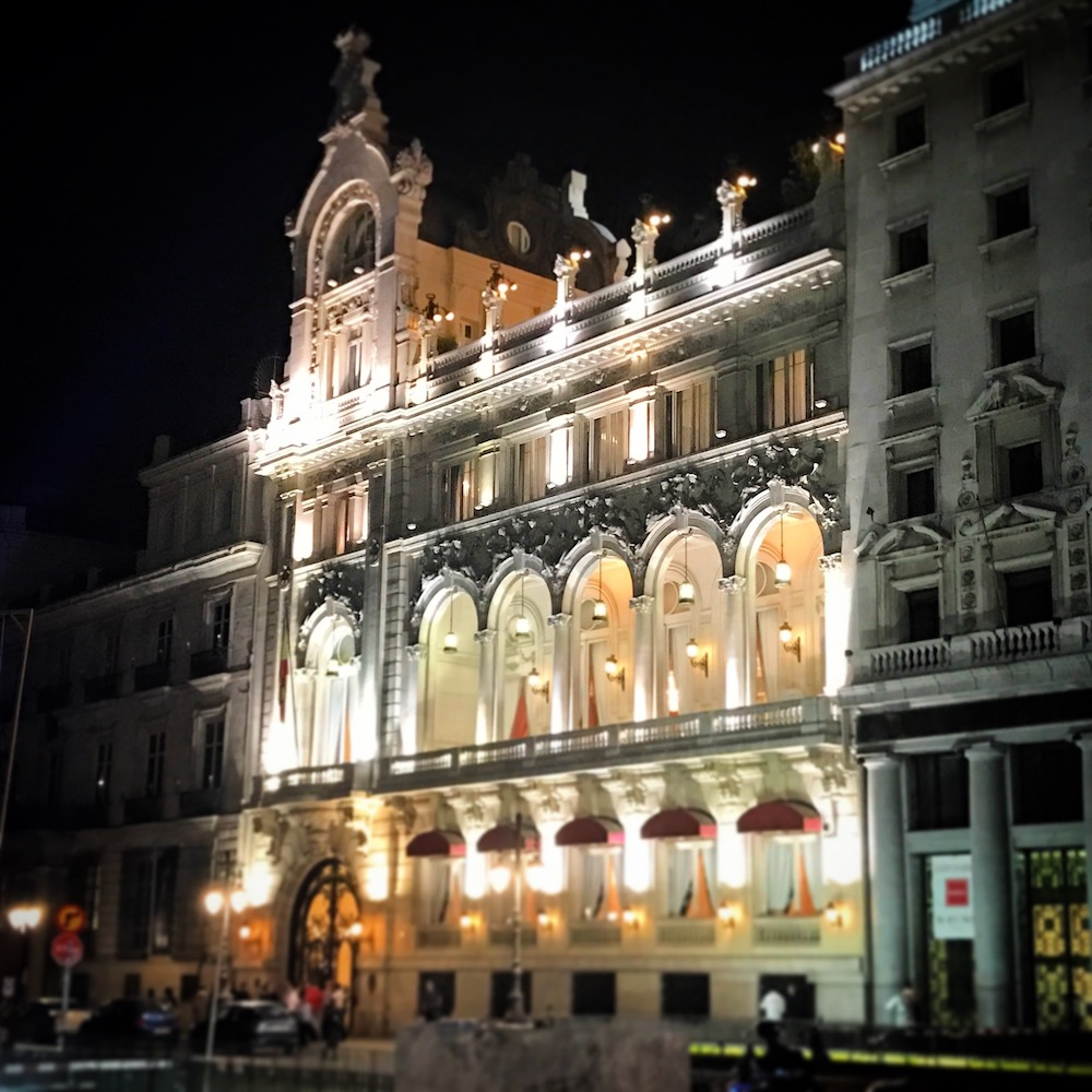 Casino de Madrid is strikingly beautiful at night. Hotel Regina is just next door.
