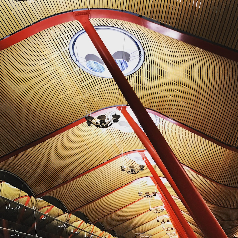 The architecture at Madrid-Barajas International Airport, particularly in Terminal 4, is stunning.