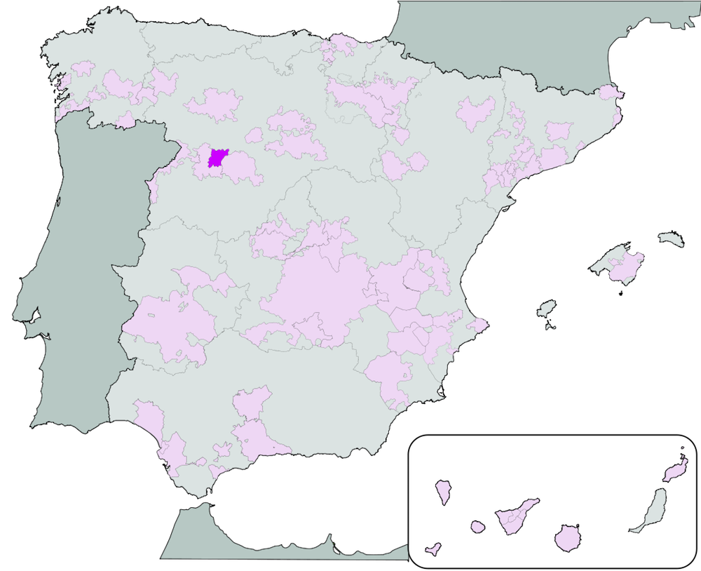 The Toro DO wine region highlighted in darker purple among Spain's other wine regions.  Image by Té y kriptonita (Own work) [GFDL (http://www.gnu.org/copyleft/fdl.html) or CC-BY-SA-3.0 (http://creativecommons.org/licenses/by-sa/3.0/)], Wikimedia Commons