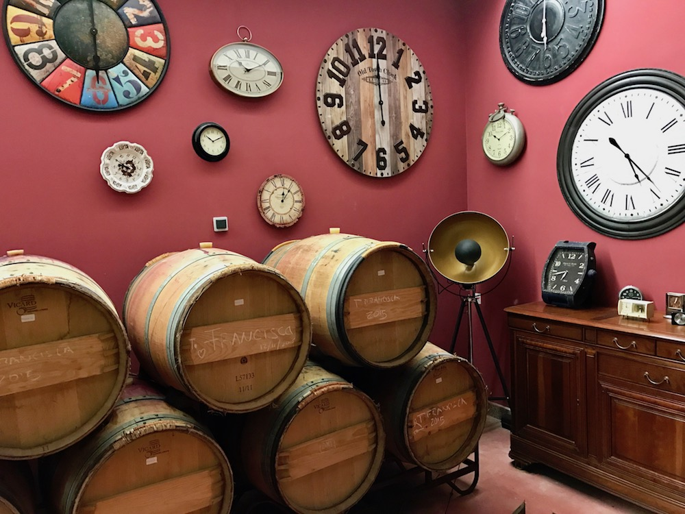 Attention to details, indeed. Clocks hung in the barrel room remind all who enter that time passes here.