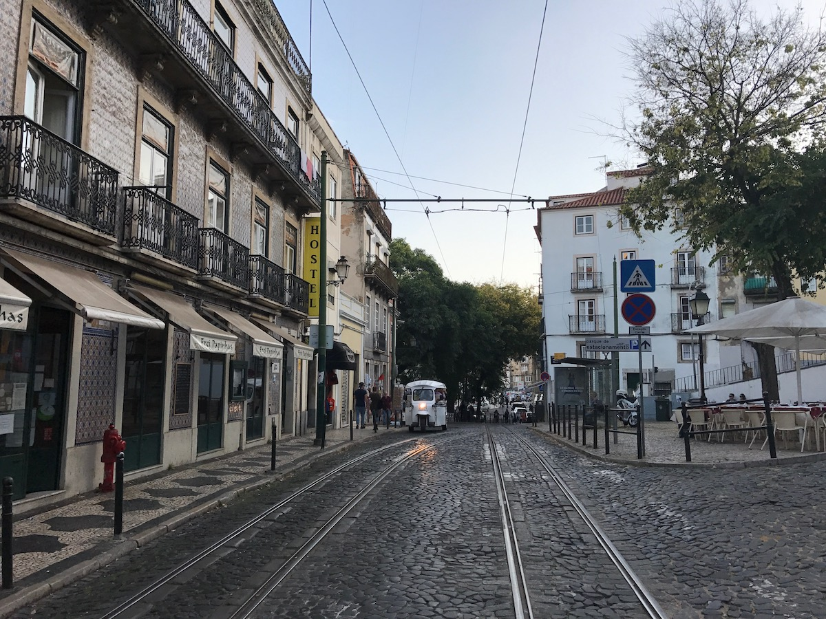 Rails for the trams line the stone-paved streets.