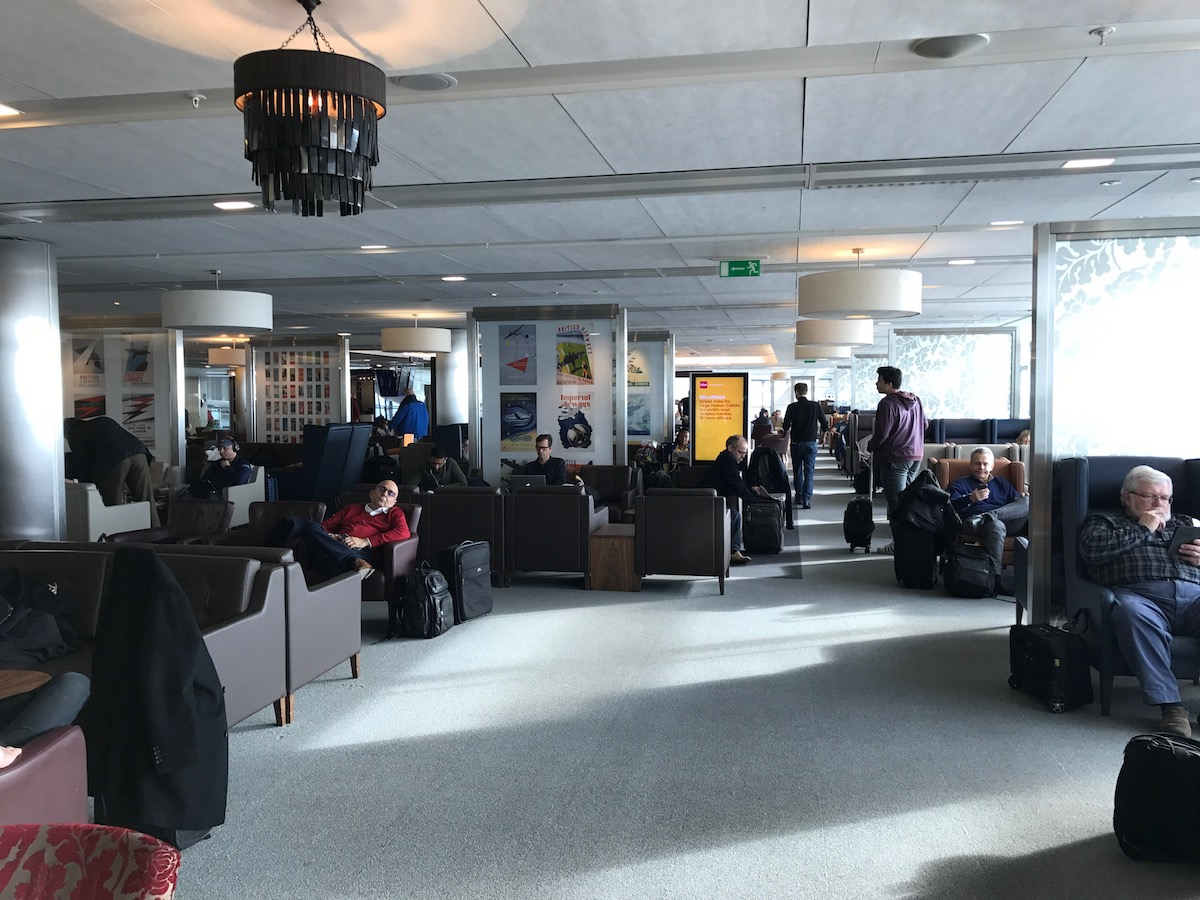 The British Airways lounge on the south end of Terminal 5 (there is another on the north end) is big, well stocked, and often crowded.