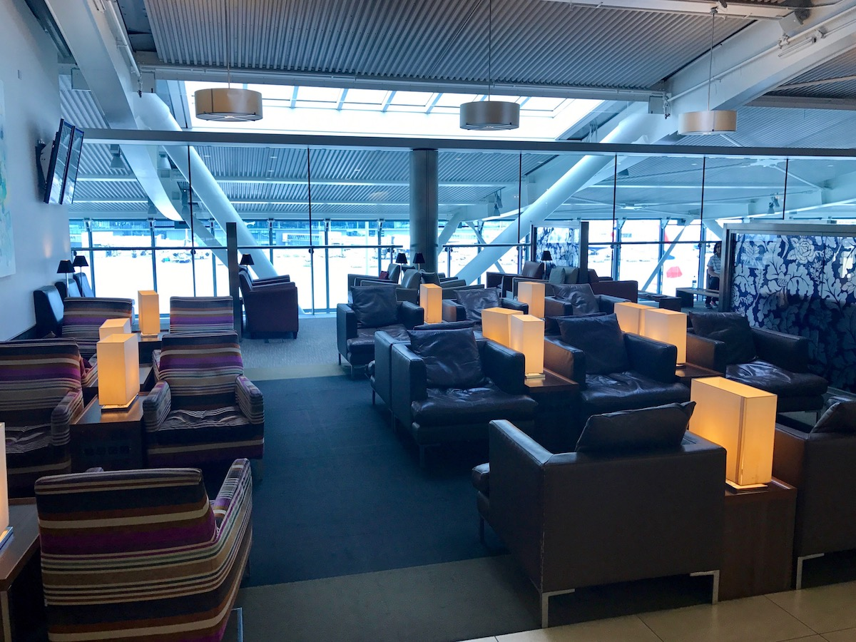 The British Airways lounge in the Pier B building is much less crowded, and the only lounge available in that building.