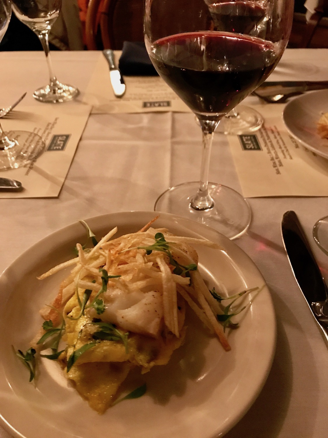 Cod À Brás with a red blend