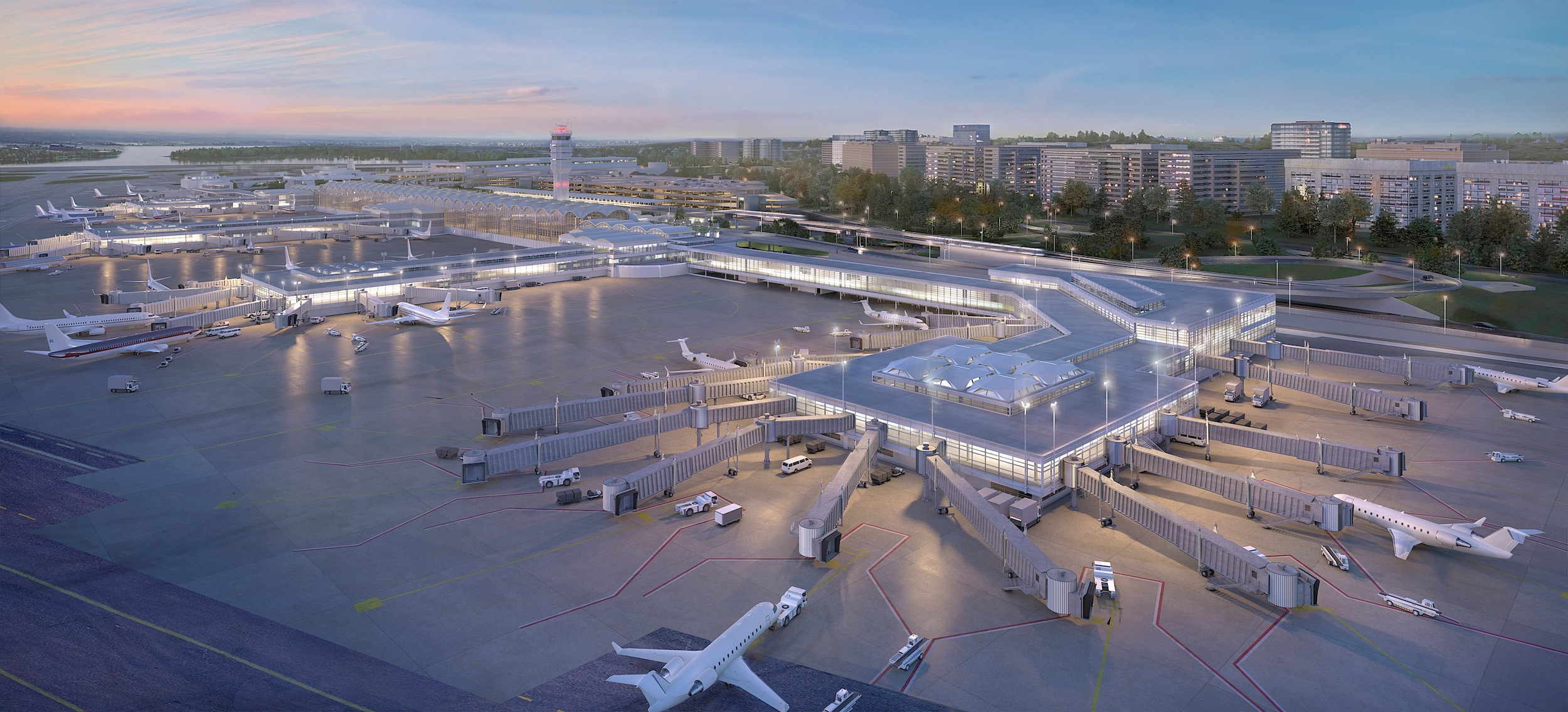 Artist's rendering of the new 14-gate concourse. This and more images available at  http://www.flyreagan.com/dca/project-journey-renderings .