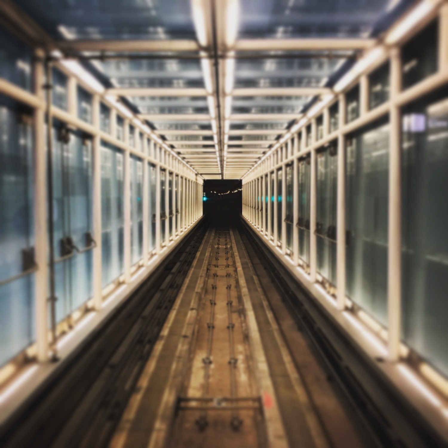 Staring down the tunnel of the AeroTrain connecting the terminals at Washington-Dulles International Airport (IAD) where this story begins (and, sadly, ends).